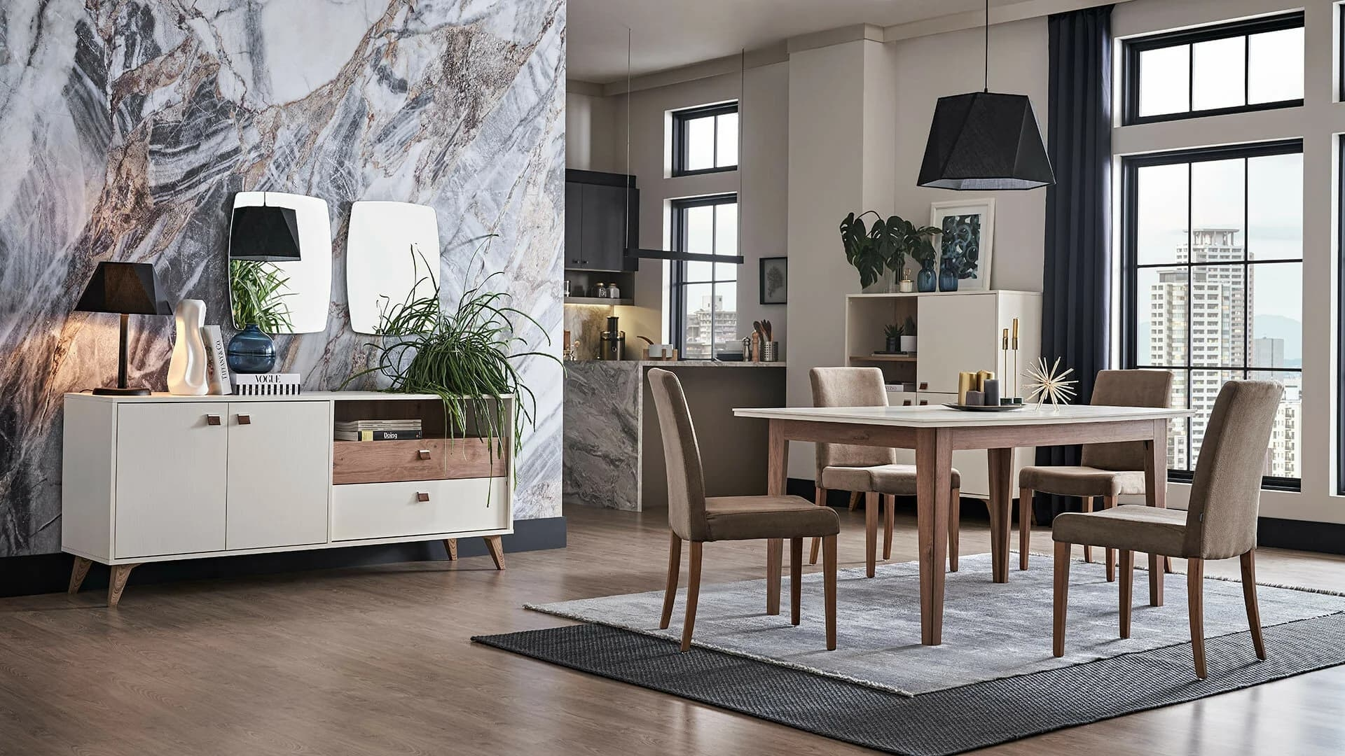 Set de mobila dining din pal, 9 piese Mayer Alb / Stejar somproduct.ro