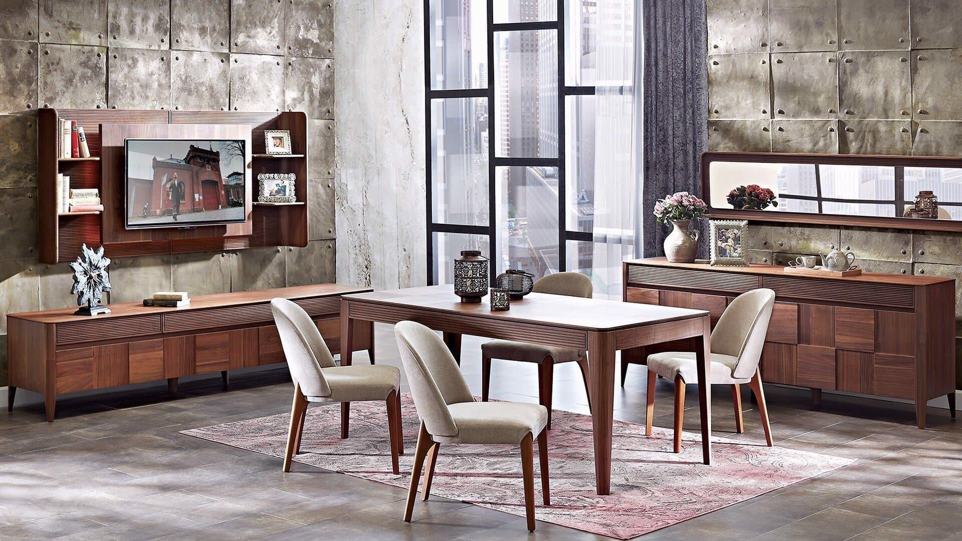 Set de mobila dining din pal, 9 piese Noble Nuc imagine