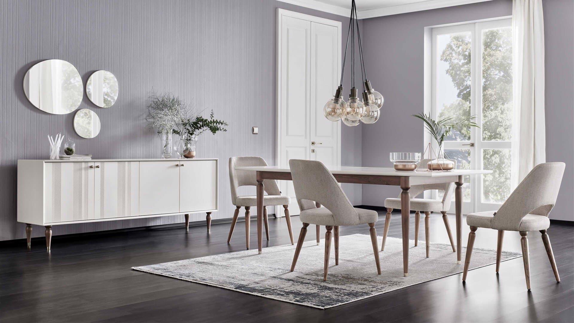 Set de mobila dining din pal si lemn, 7 piese Floria Crem / Nuc imagine
