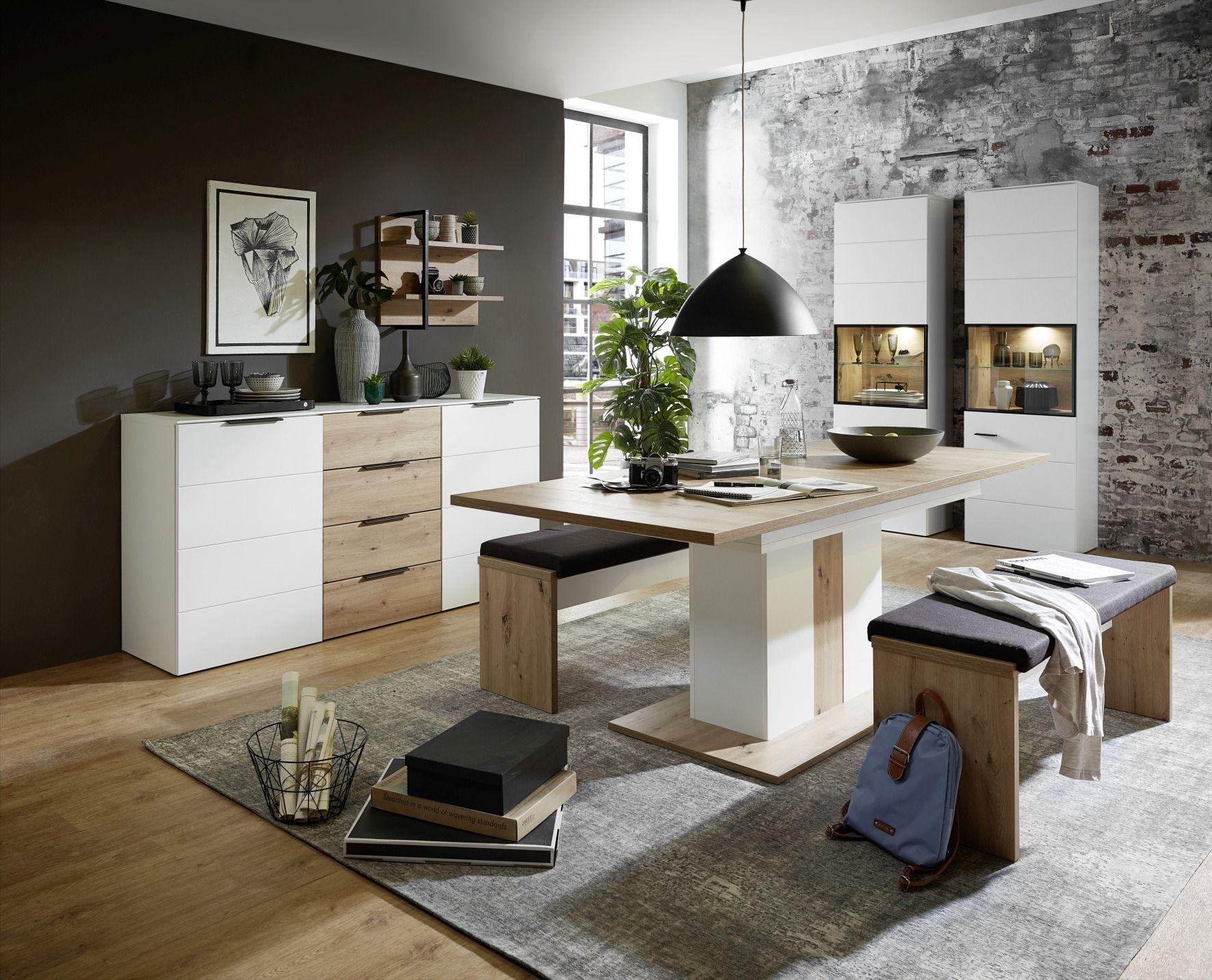 Set de mobila dining din pal si MDF, 7 piese Madeline Alb / Stejar imagine