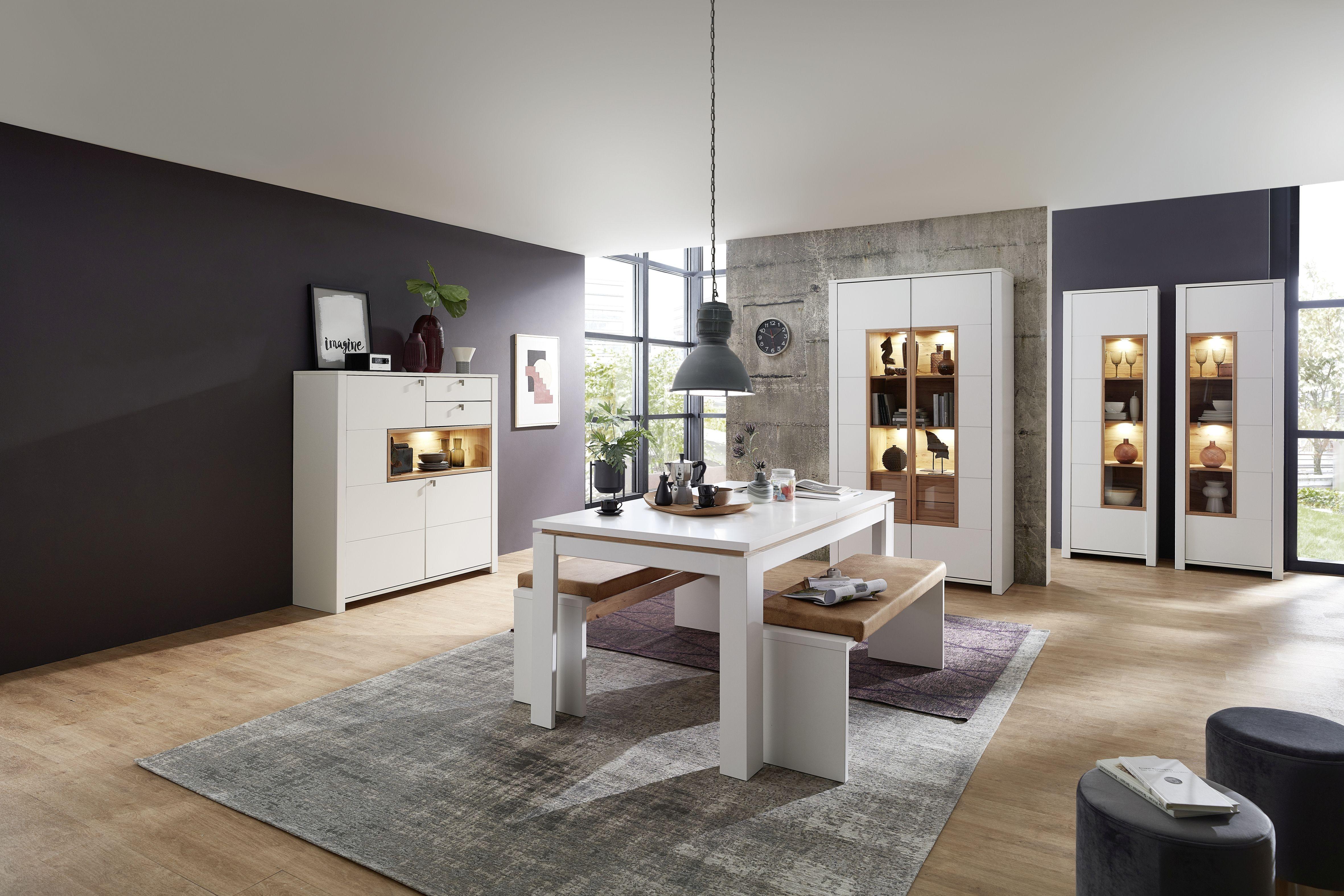 Set de mobila dining din pal si MDF, 7 piese Selina Alb / Natur imagine
