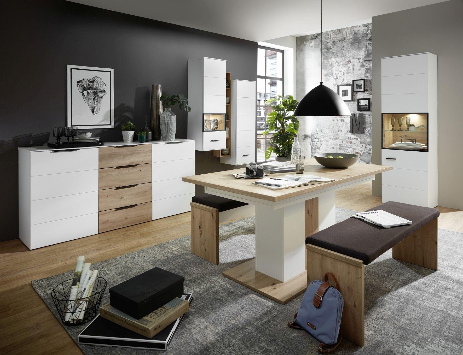 Set de mobila dining din pal si MDF, 8 piese Madeline Alb / Stejar imagine