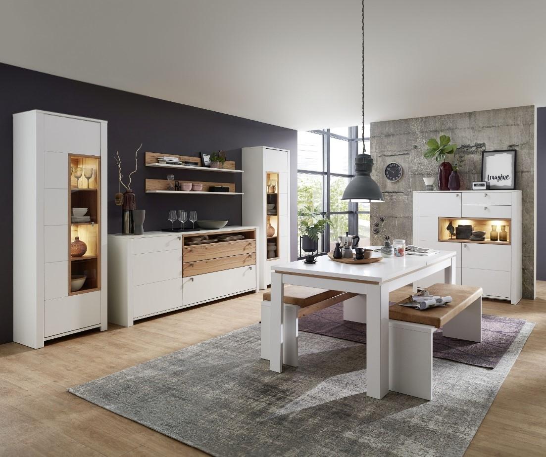Set de mobila dining din pal si MDF, 9 piese Selina Alb / Natur imagine