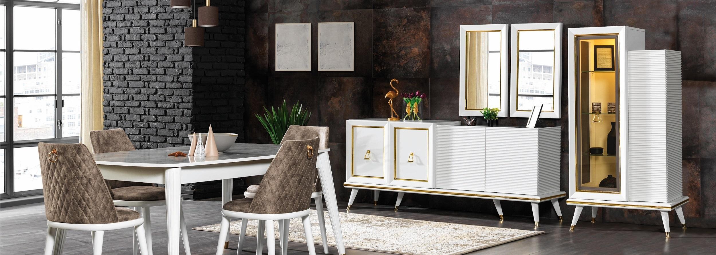 Set de mobila dining din pal si metal, 11 piese Toscana Alb / Auriu imagine