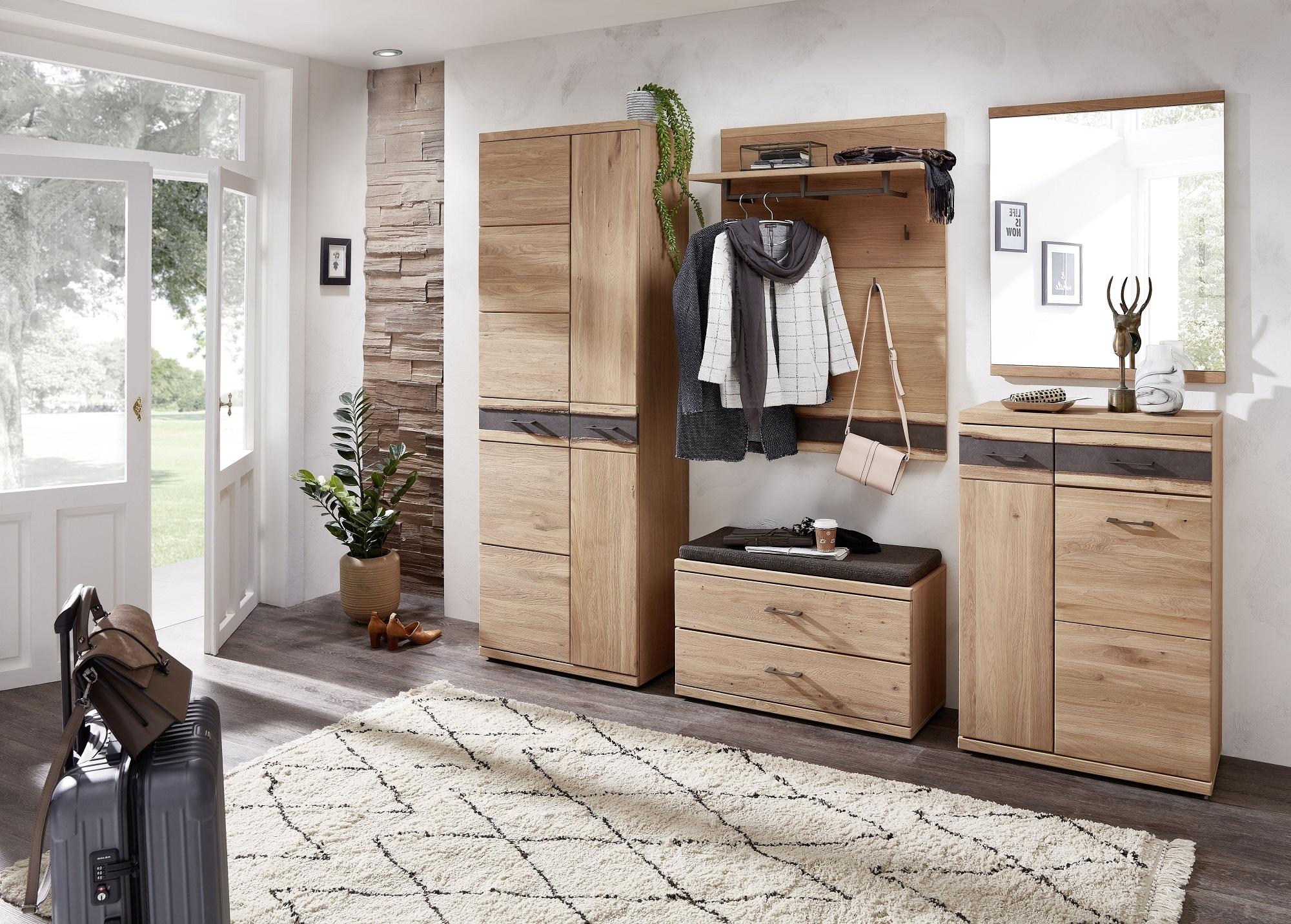 Set de mobila hol din furnir si lemn, 5 piese Crispin Natur poza