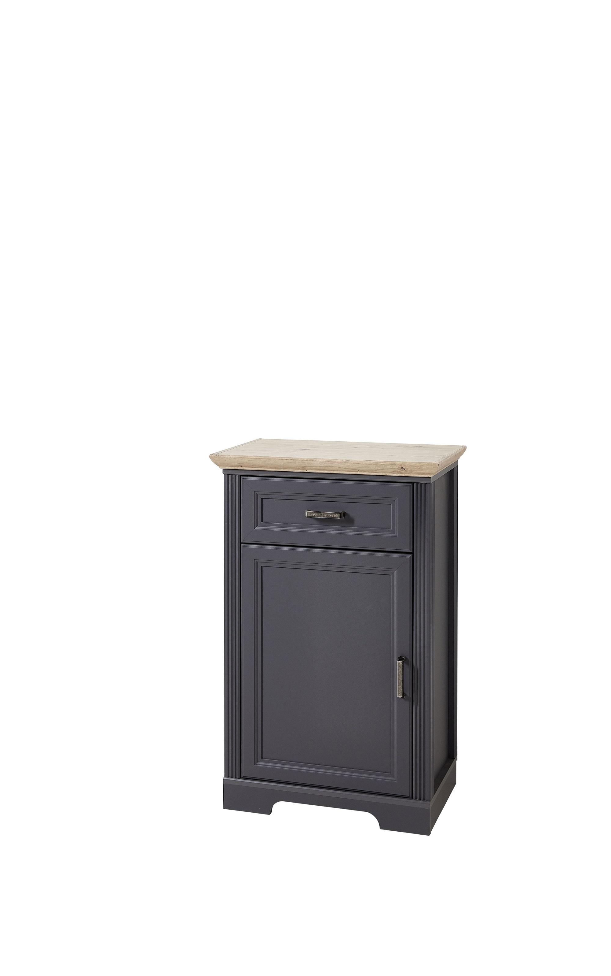 Cabinet hol din MDF, cu 1 usa si 1 sertar, Jessie Grafit, l65xA41xH102 cm somproduct.ro