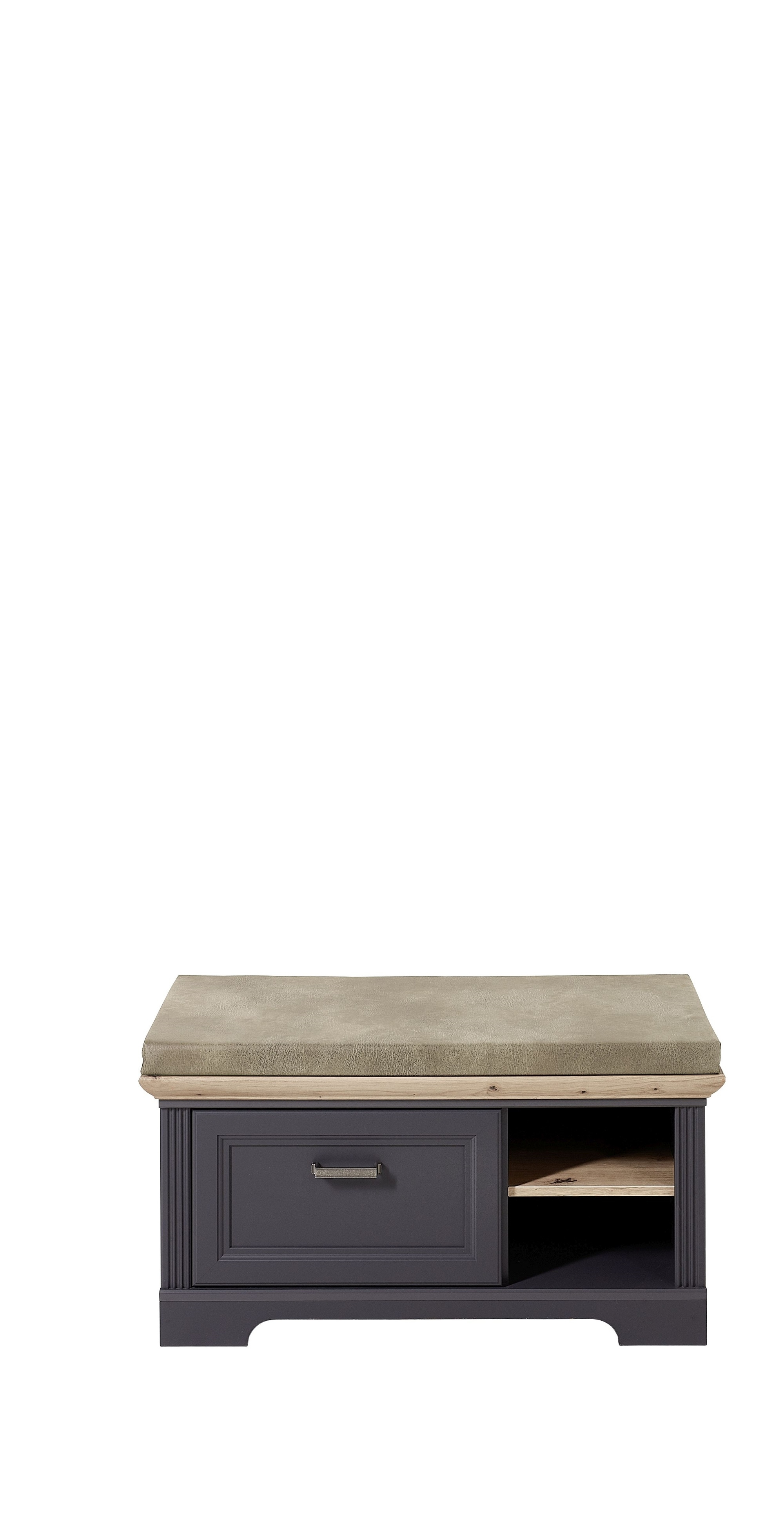 Banca tapitata cu stofa si 1 sertar, din MDF, Jessie Grafit, l93xA41xH49 cm imagine