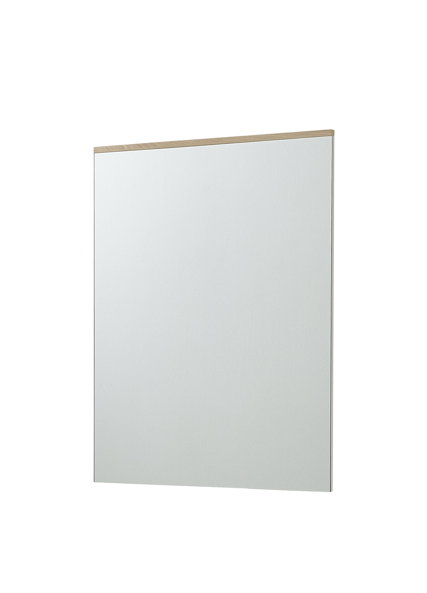 Oglinda decorativa din MDF, Renos Alb / Fag, 65 x 88 cm imagine