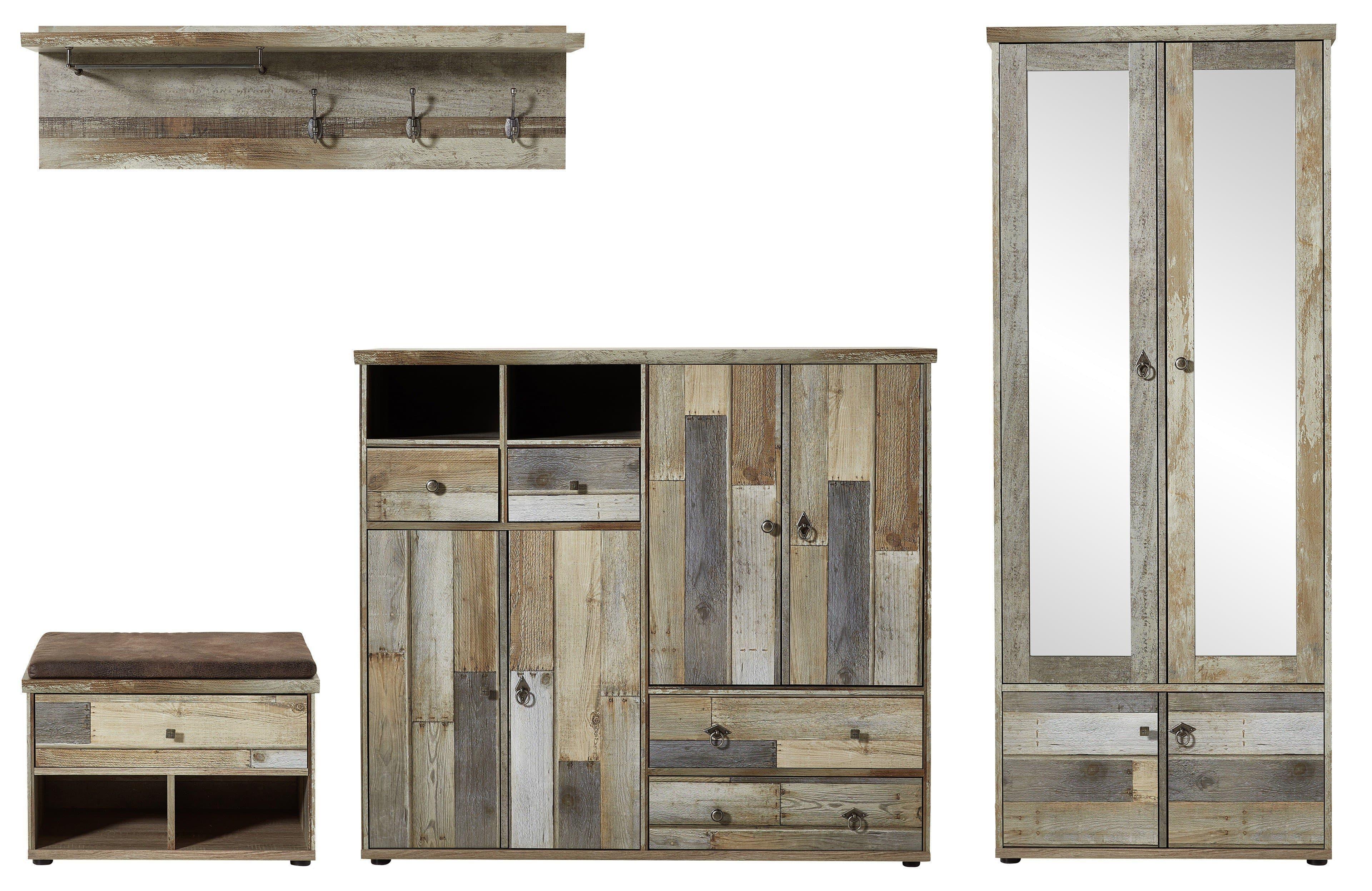 Set de mobila hol din pal, 4 piese Bazna II Natur / Gri inchis somproduct.ro
