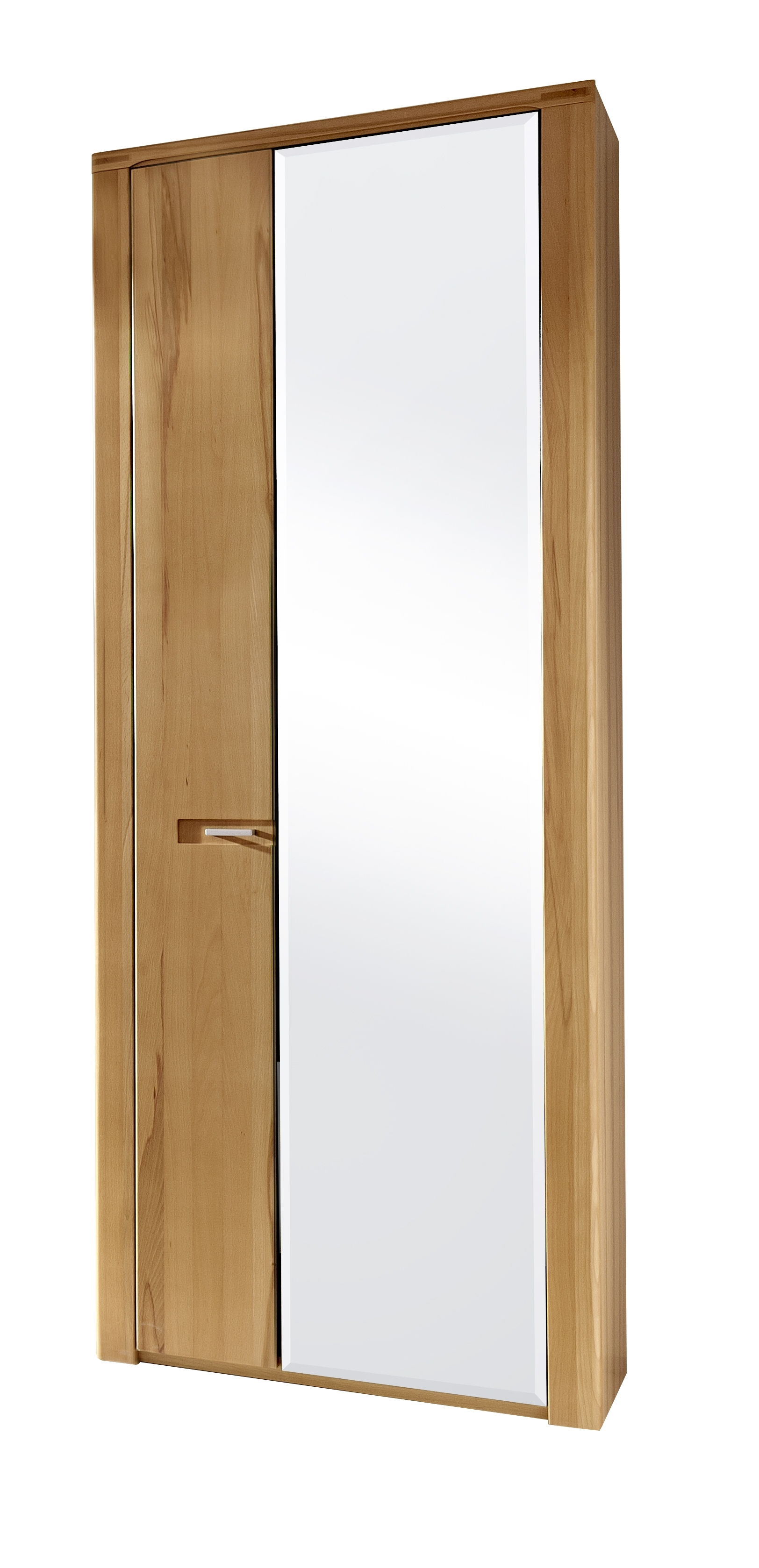 Dulap hol din pal cu oglinda cu 2 usi, Natur Plus, l74xA40xH200 cm imagine