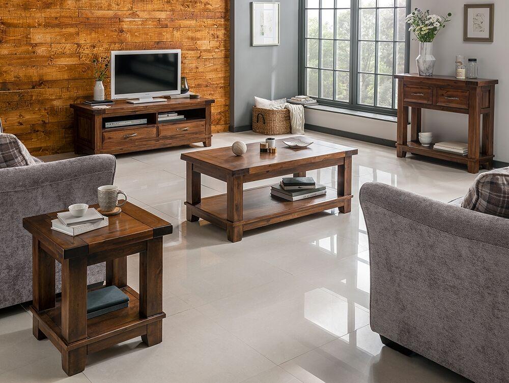 Set de mobila living din lemn de salcam 4 piese Emerson Brown