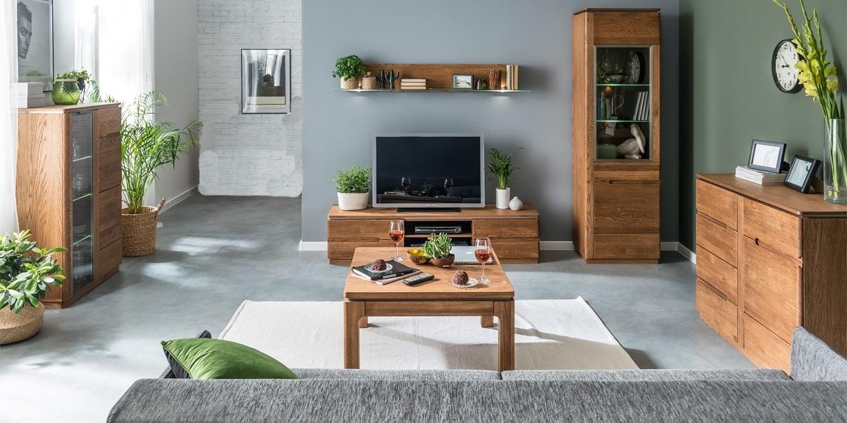 Set de mobila living din lemn si furnir, 6 piese Montenegro Stejar Rustic