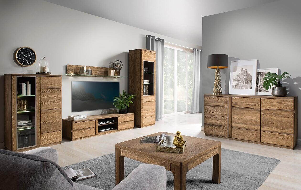 Set de mobila living din lemn si furnir 6 piese Negro Oak