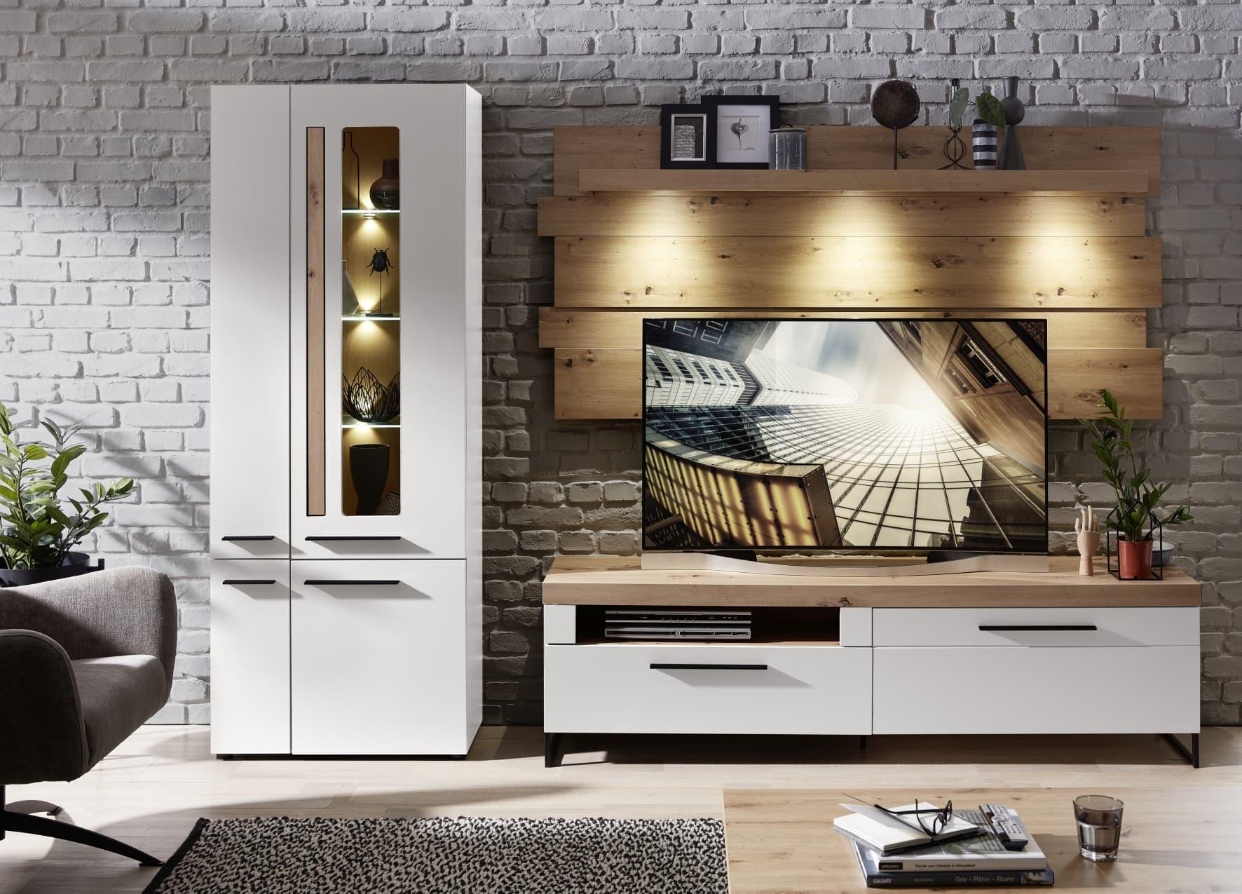 Set de mobila living din MDF, 3 piese Loftis Alb / Stejar imagine