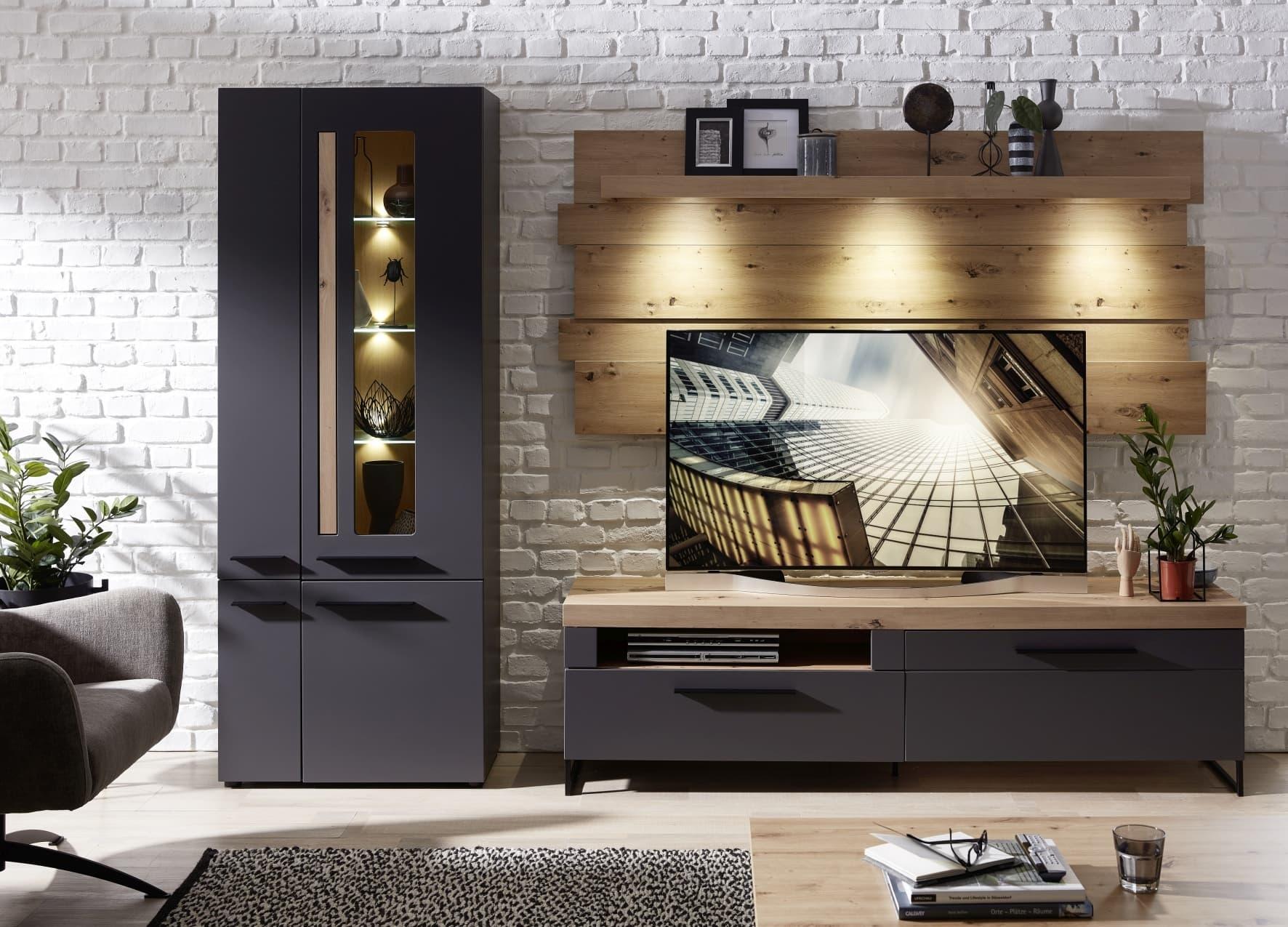 Set de mobila living din MDF, 3 piese Loftis Grafit / Stejar imagine
