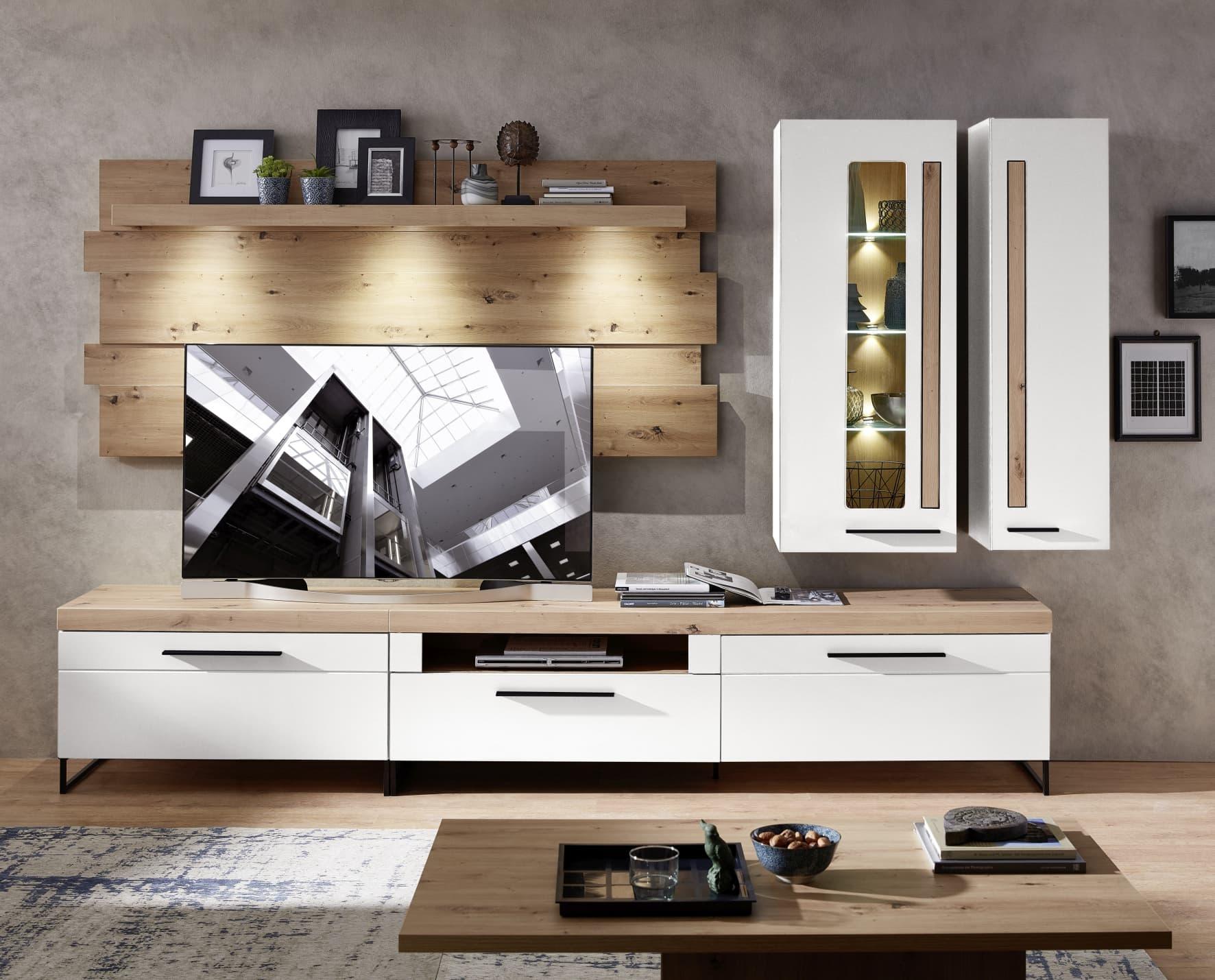 Set de mobila living din MDF, 5 piese Loftis Alb / Stejar somproduct.ro