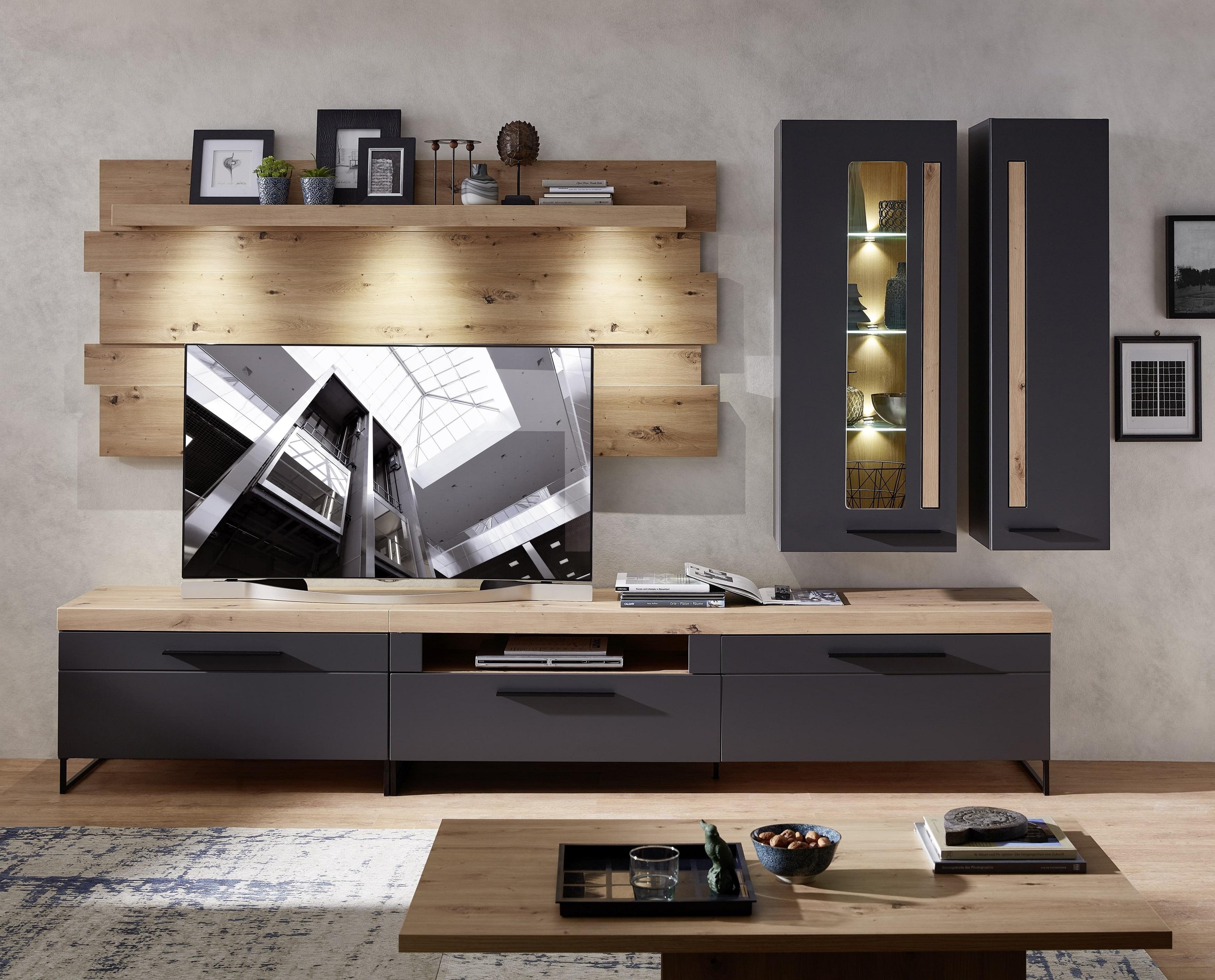 Set de mobila living din MDF, 5 piese Loftis Grafit / Stejar imagine