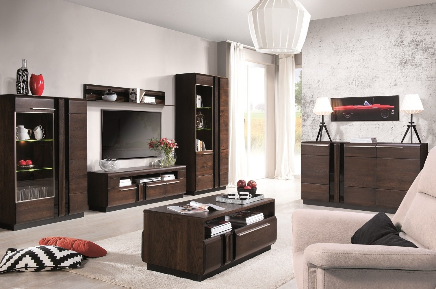 Set de mobila living din MDF si pal, 6 piese Porti Stejar Choco imagine