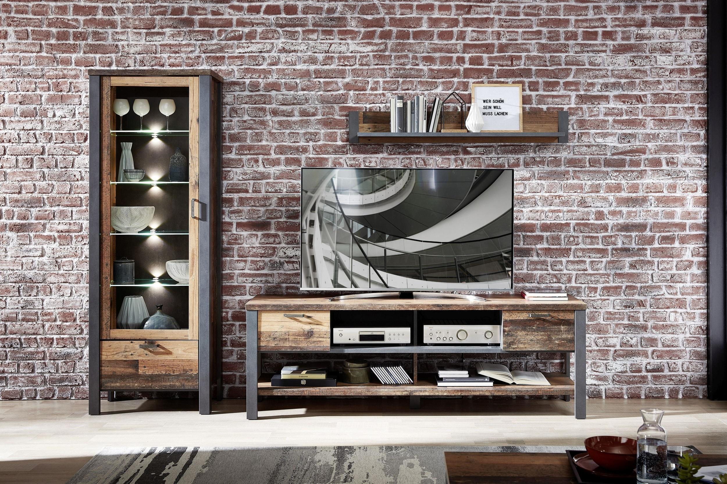 Set de mobila living din pal, 3 piese Chelsea II Natural / Grafit imagine