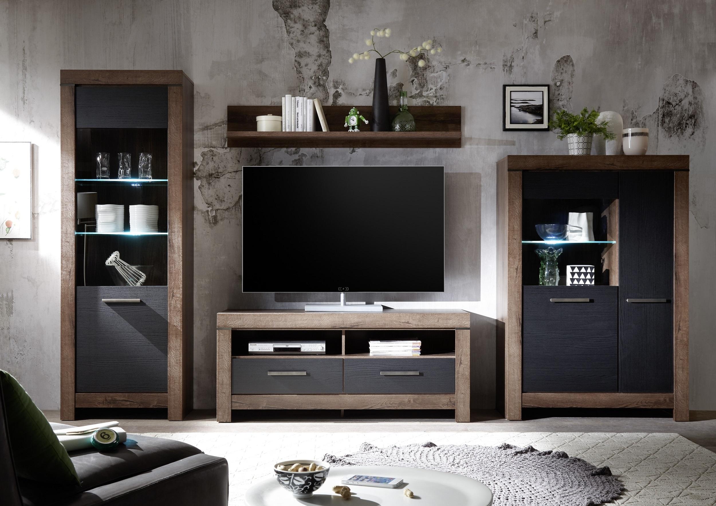Set de mobila living din pal, 4 piese Blake II Stejar Negru / Stejar imagine