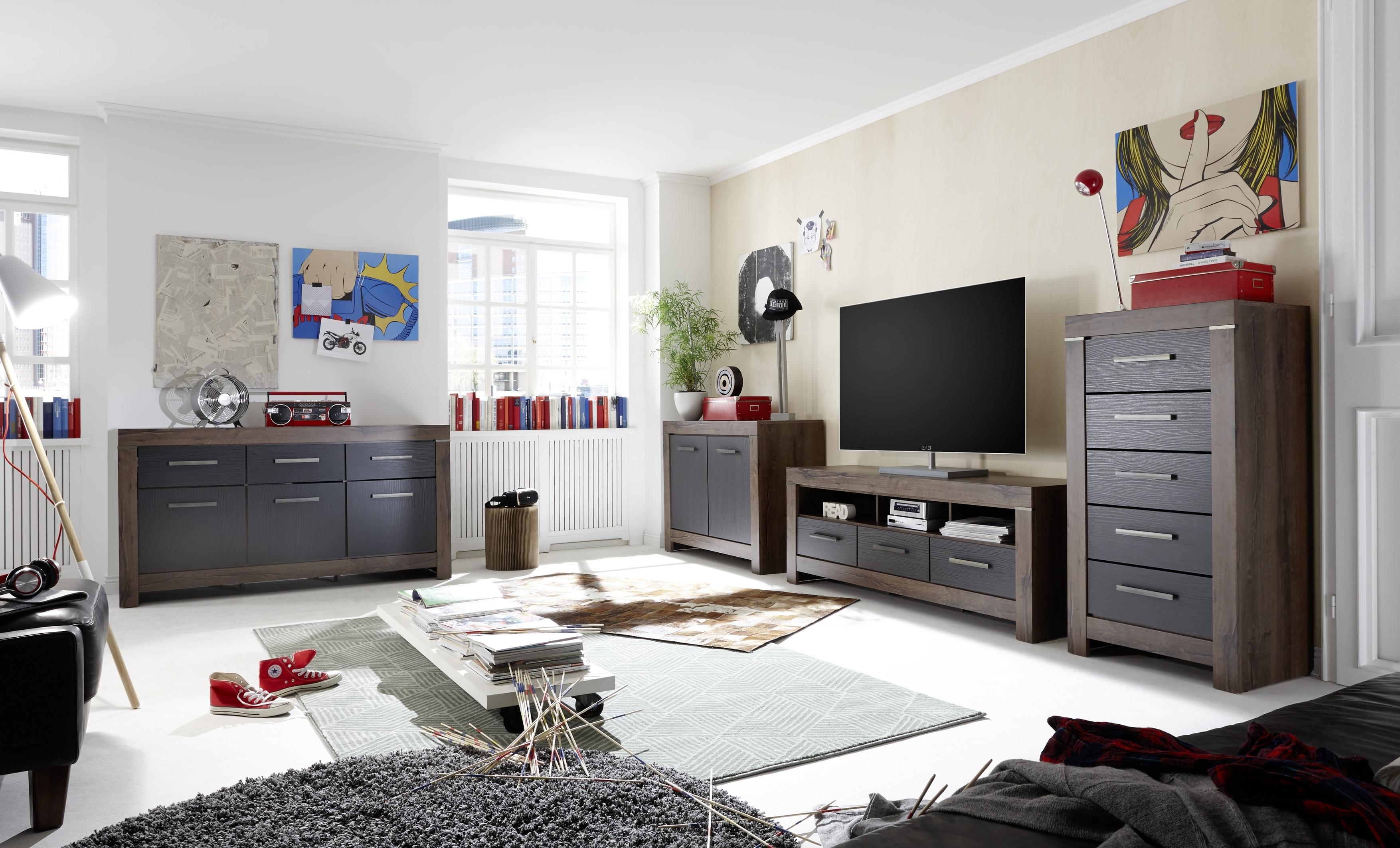 Set de mobila living din pal, 4 piese Blake Stejar Negru / Stejar imagine