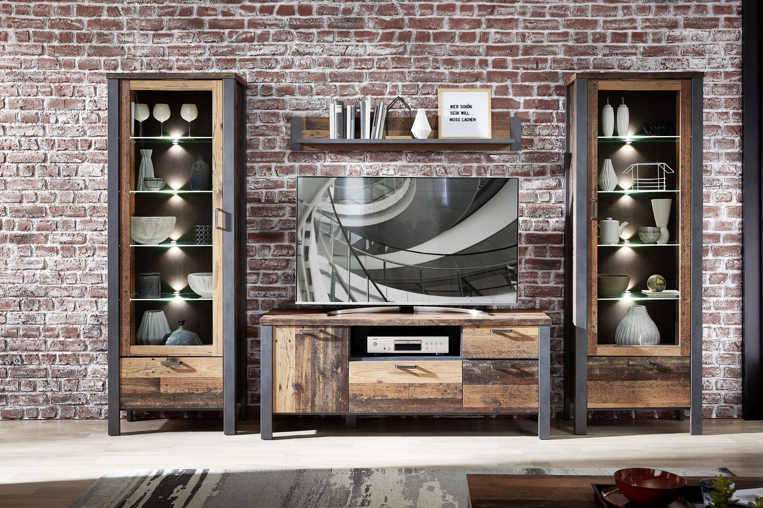 Set de mobila living din pal, 4 piese Chelsea II Natural / Grafit imagine