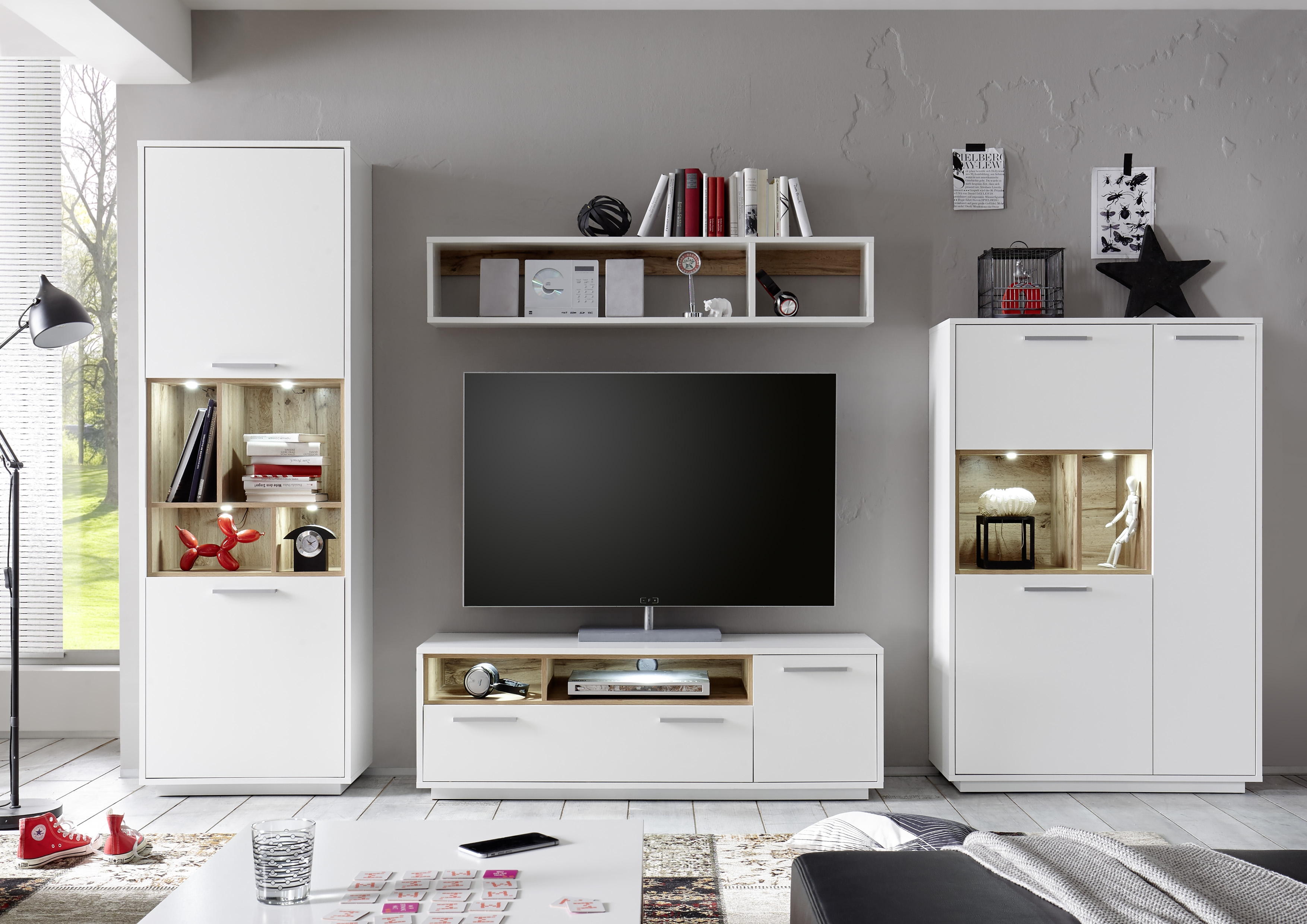 Set de mobila living din pal, 4 piese Millie Alb / Natur imagine