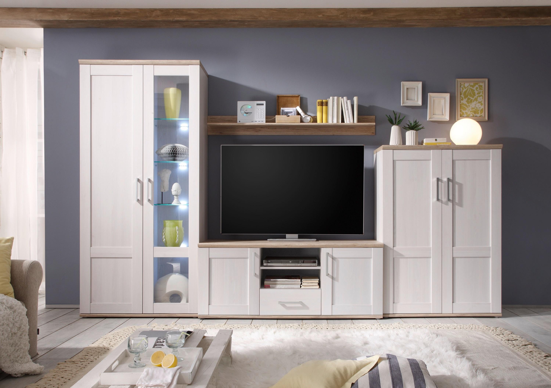 Set de mobila living din pal, 4 piese Romina Alb / Stejar San Remo imagine