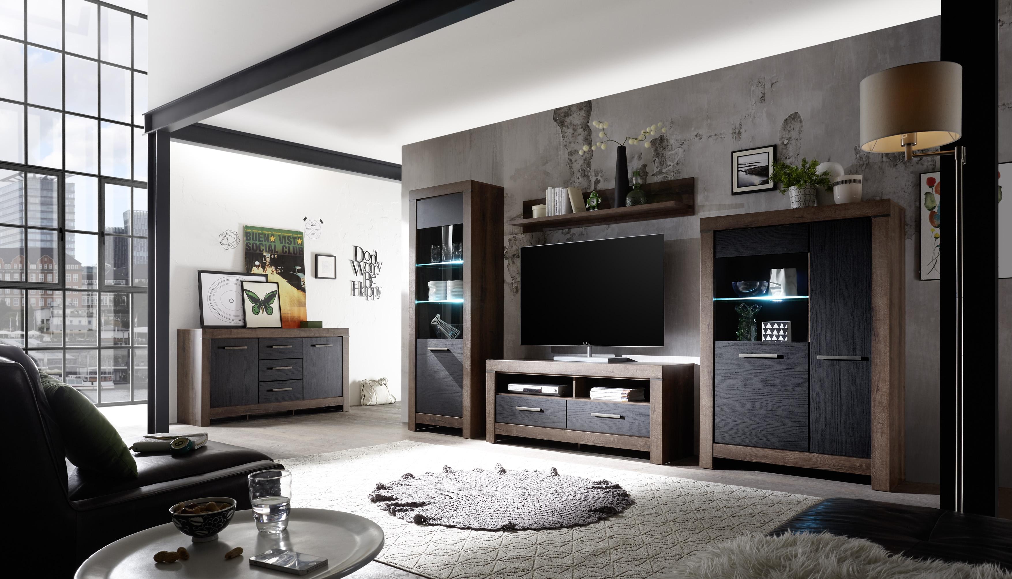 Set de mobila living din pal, 5 piese Blake Stejar Negru / Stejar imagine