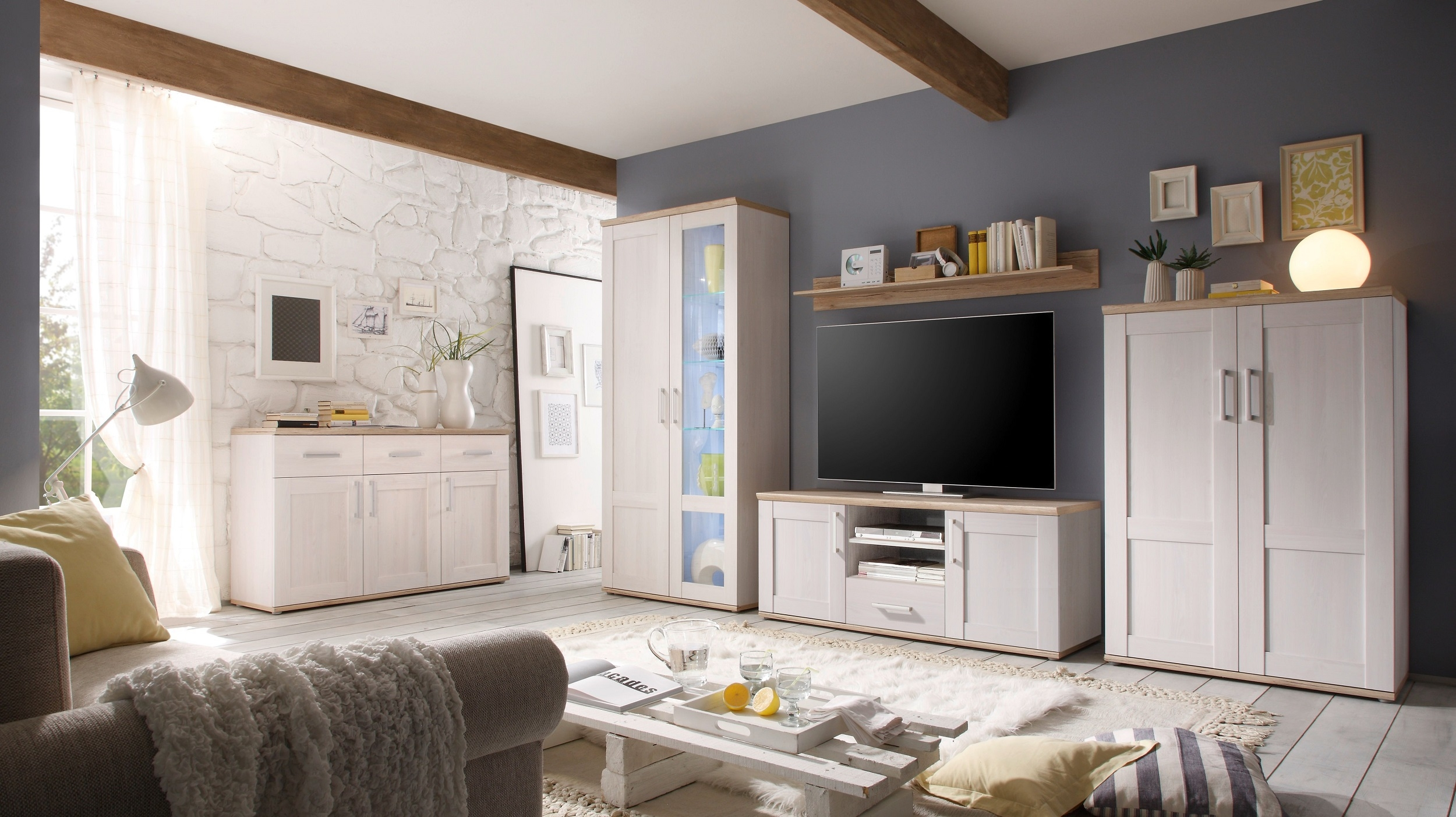Set de mobila living din pal, 5 piese Romina Alb / Stejar San Remo