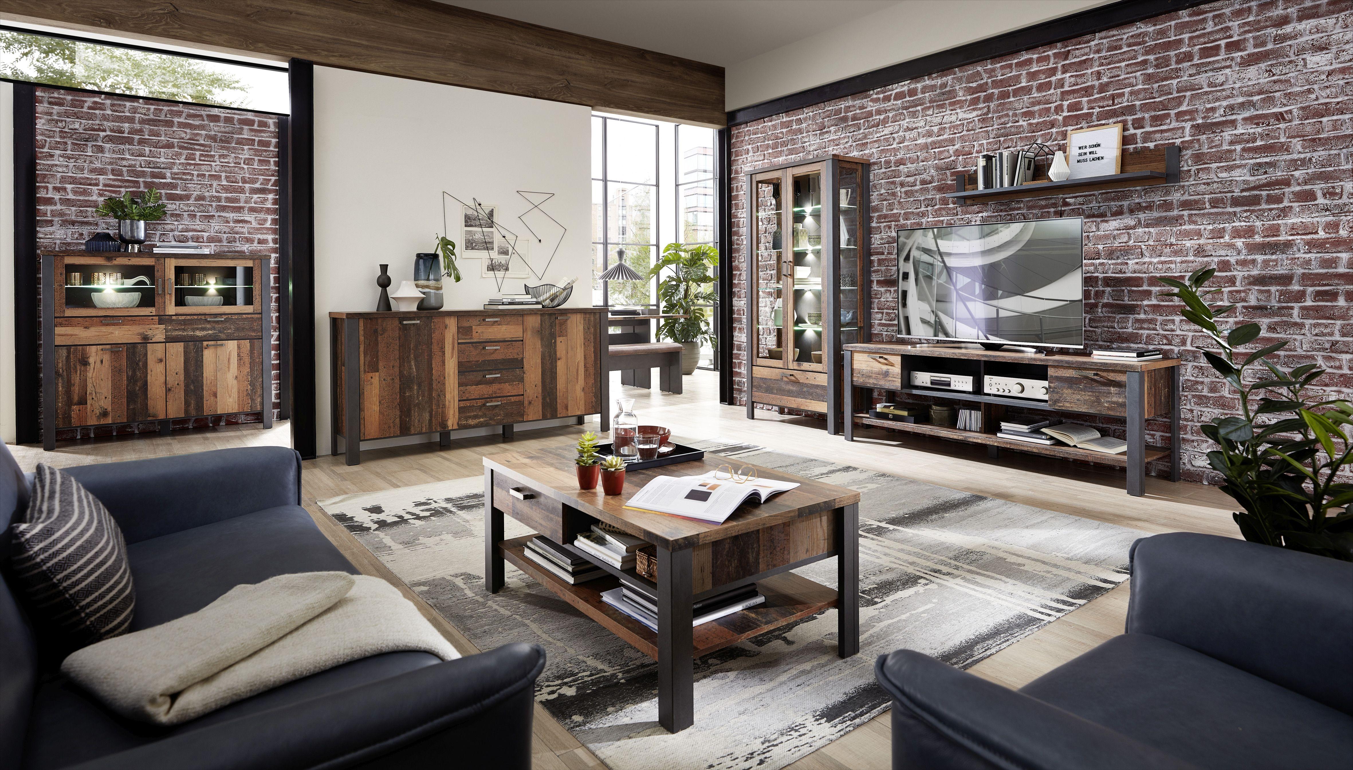 Set de mobila living din pal, 6 piese Chelsea Natural / Grafit imagine