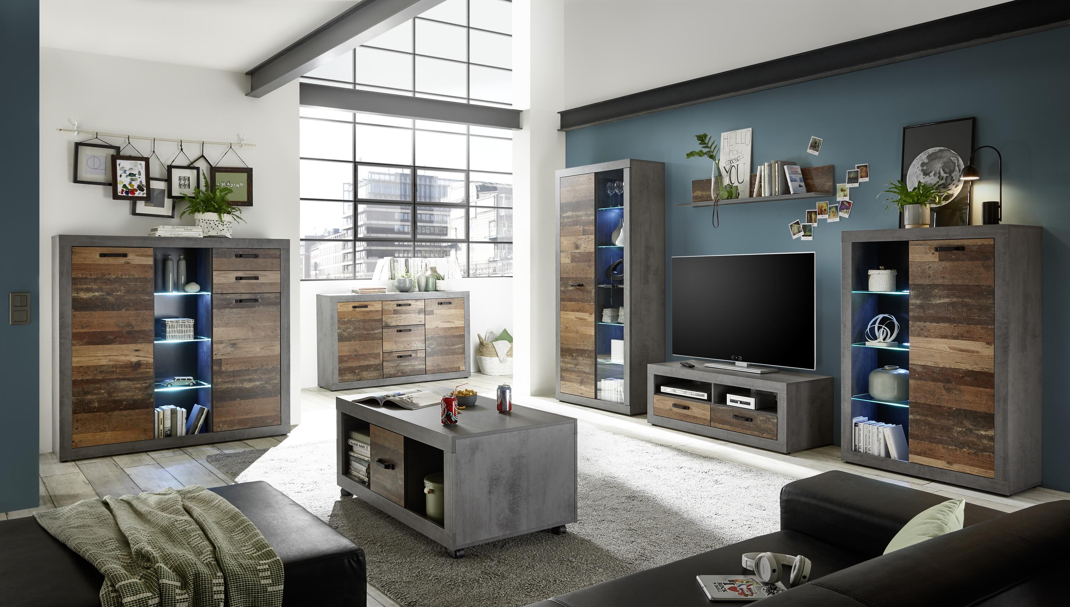 Set de mobila living din pal, 6 piese Inez Gri / Natur imagine