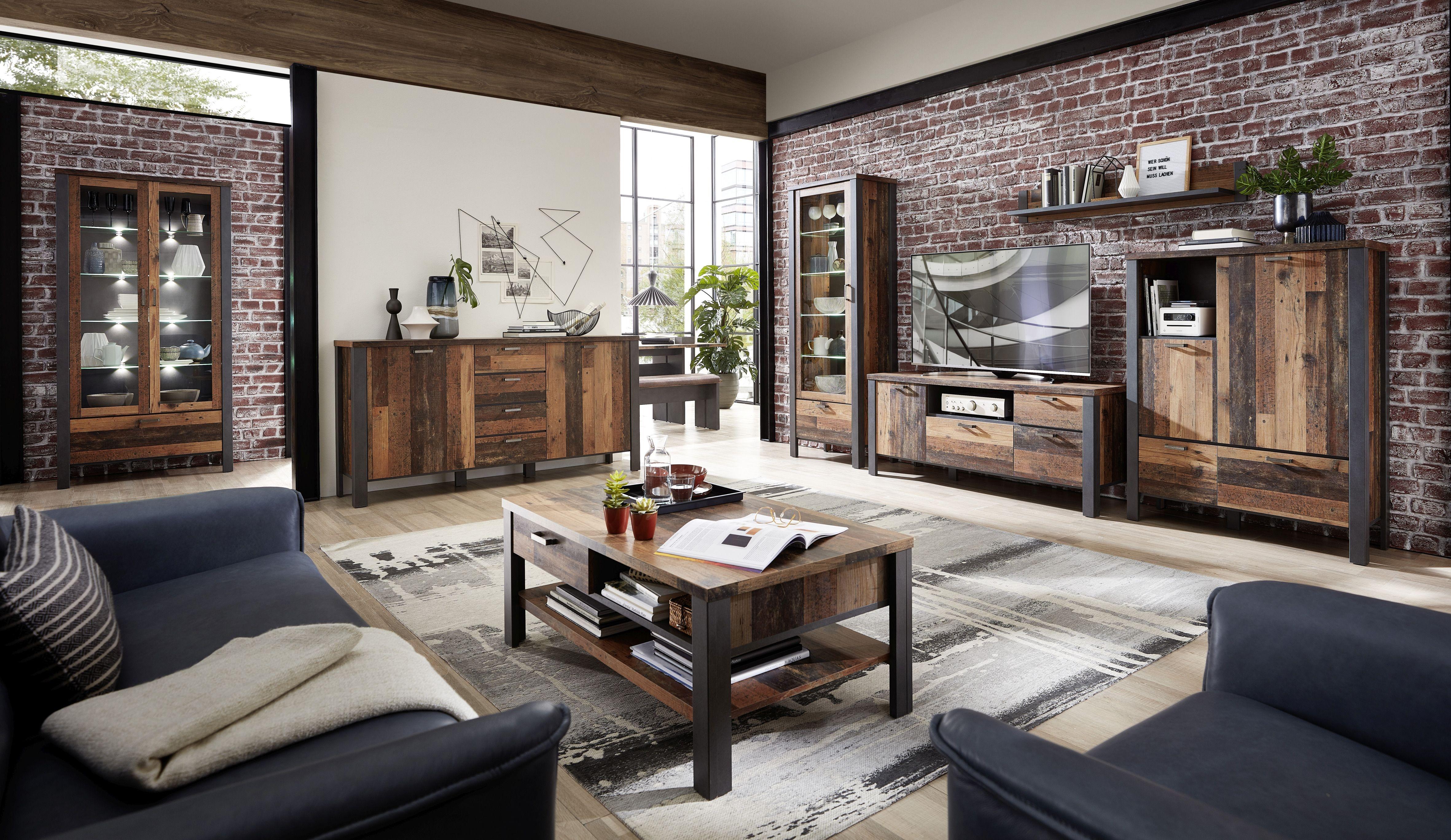 Set de mobila living din pal, 7 piese Chelsea Natural / Grafit imagine