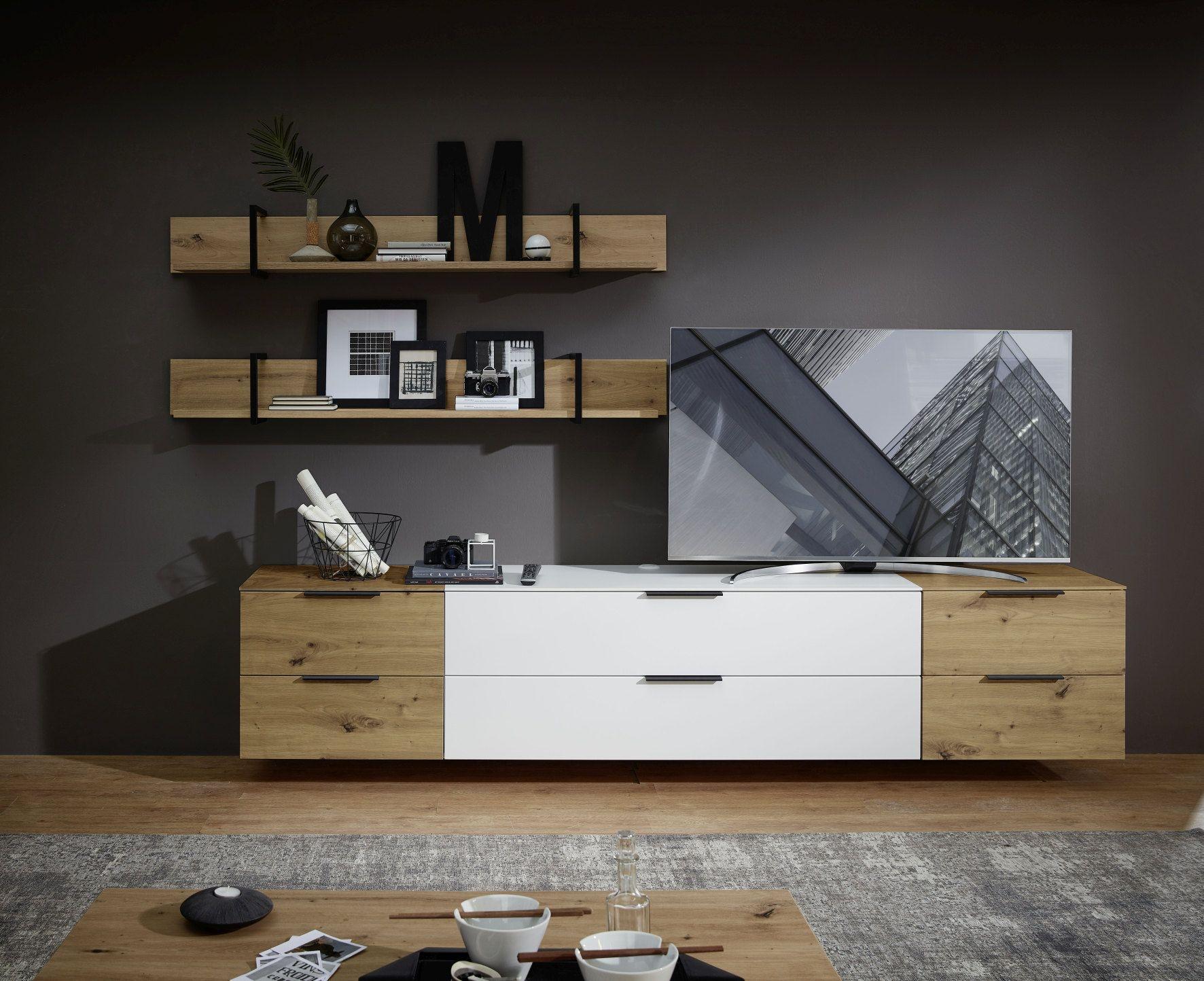 Set de mobila living din pal si MDF, 5 piese Madeline Alb / Stejar