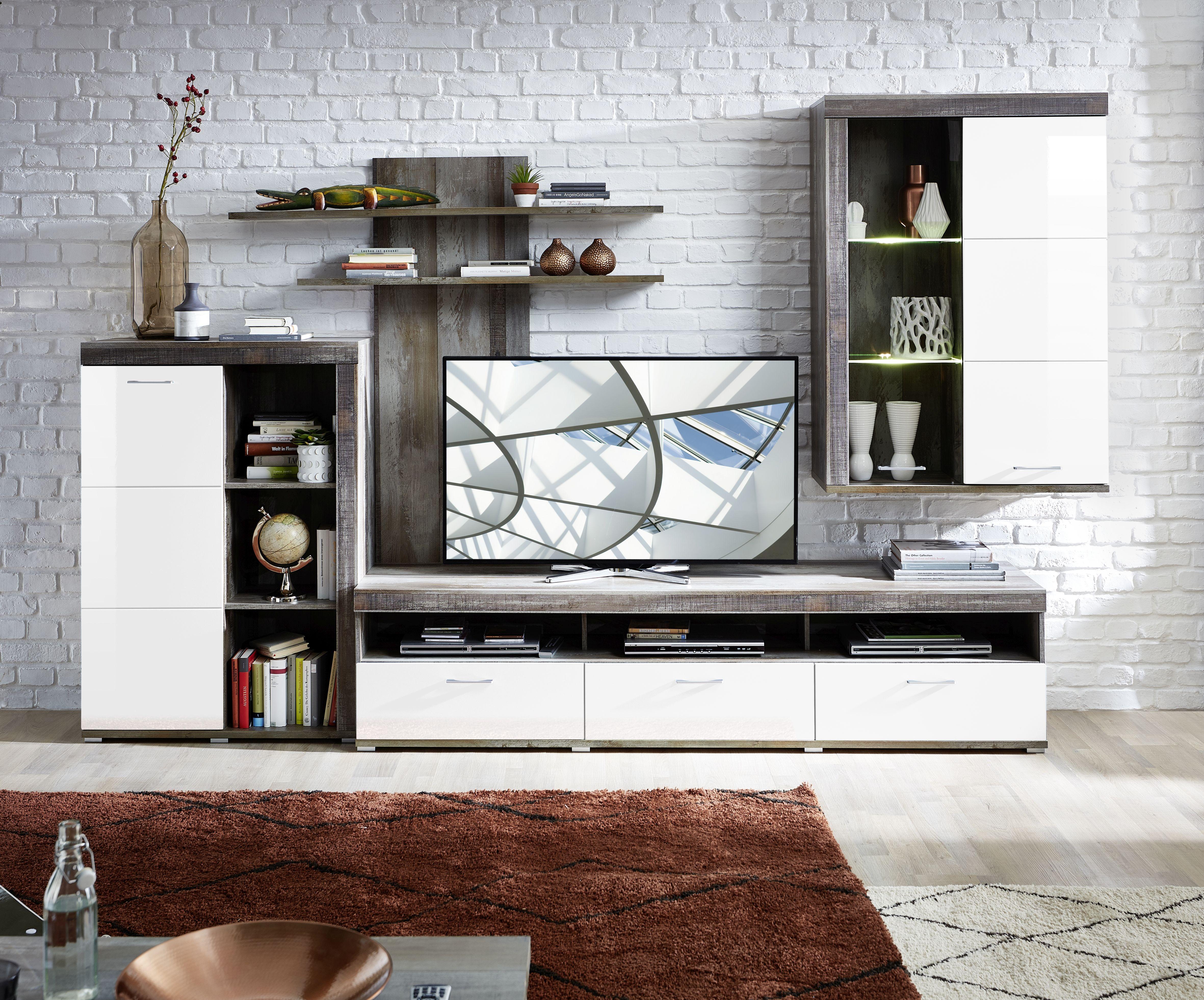 Set de mobila living din pal si MDF, 4 piese Krone I Alb / Natur imagine