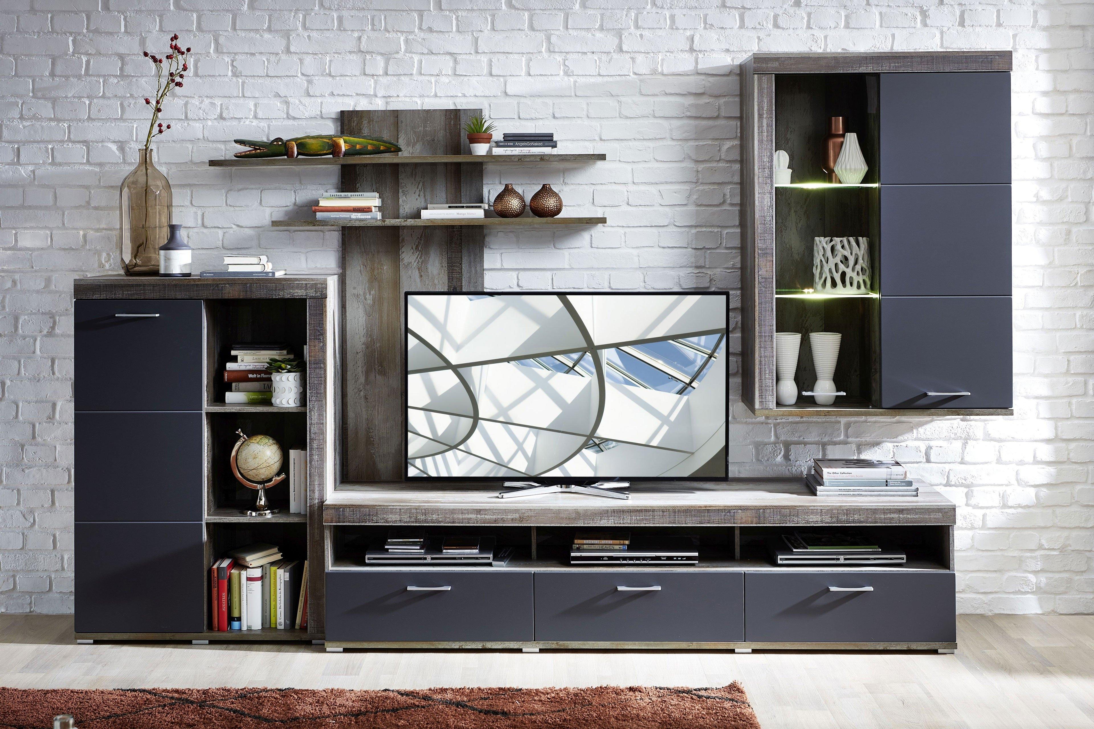 Set de mobila living din pal si MDF, 4 piese Krone I Grafit / Natur imagine