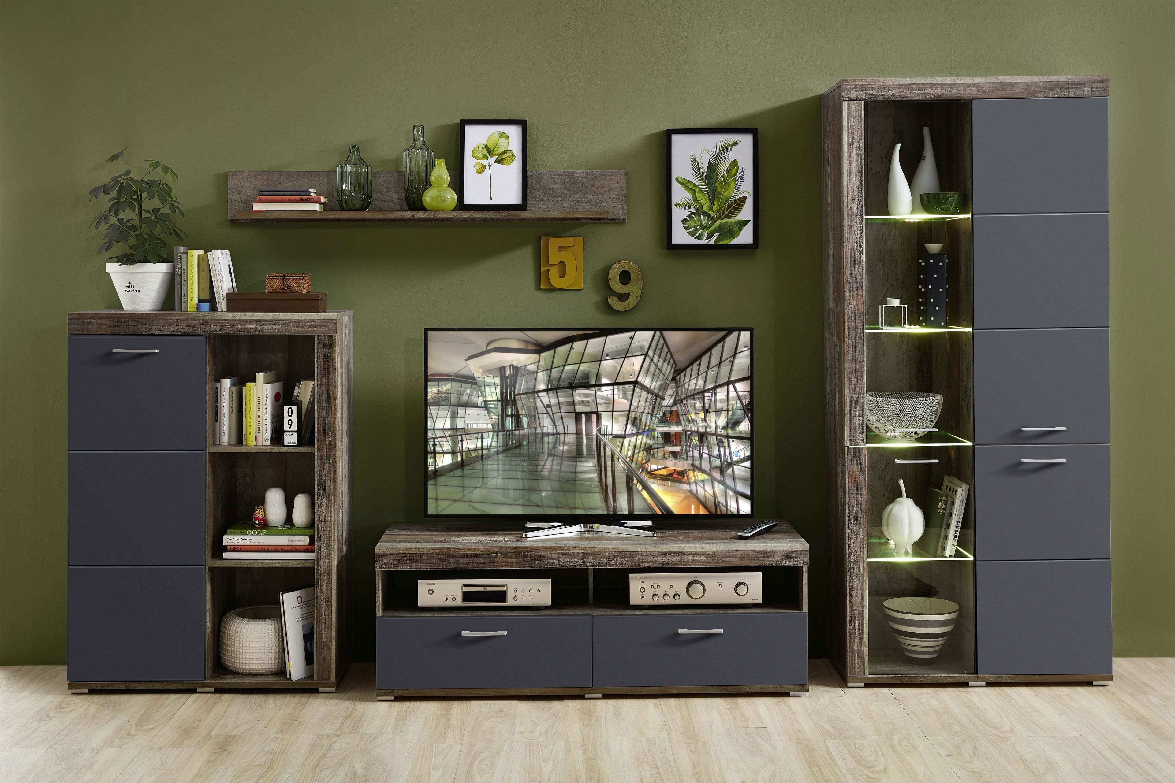 Set de mobila living din pal si MDF, 4 piese Krone II Grafit / Natur imagine