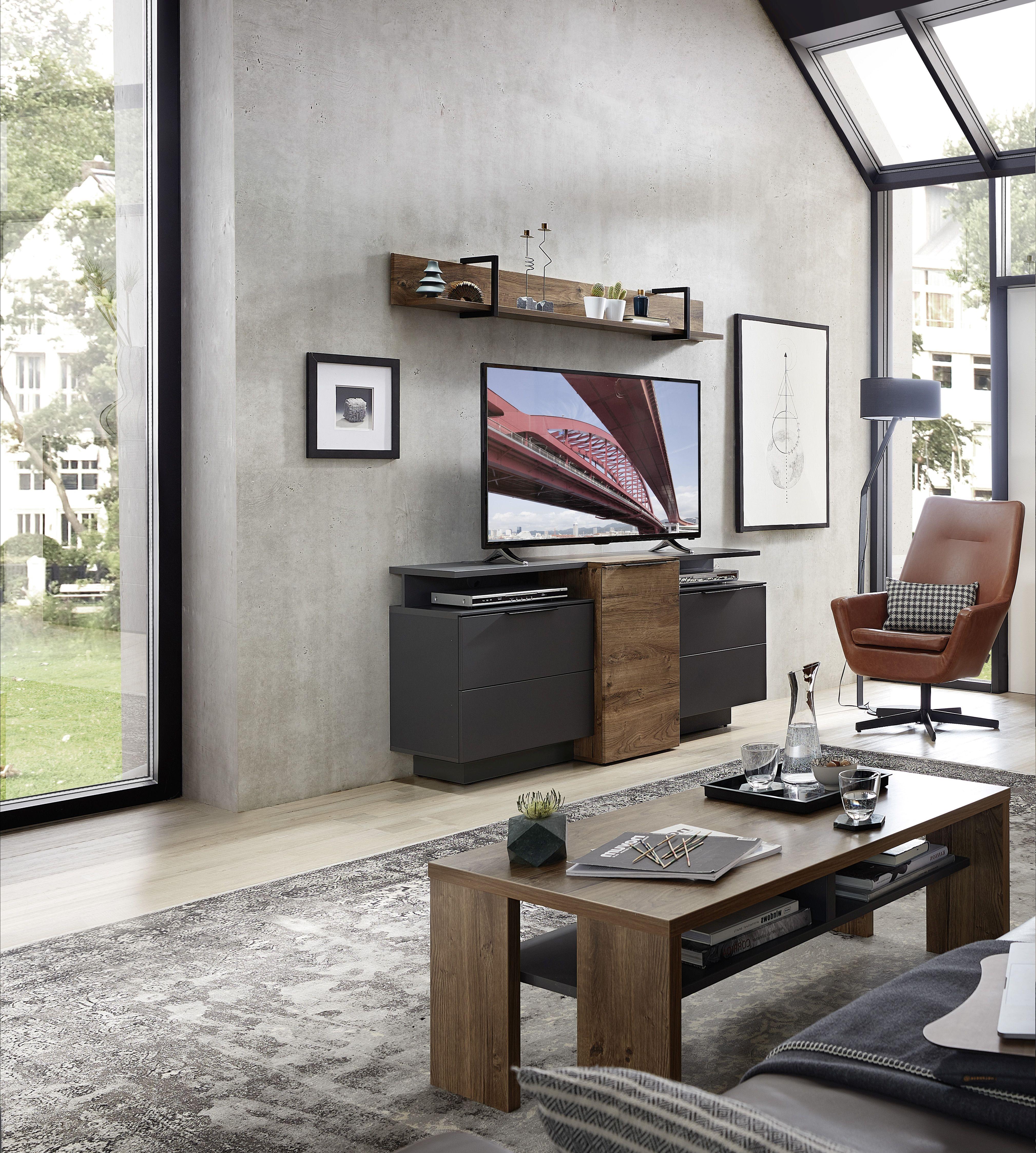 Set de mobila living din pal si MDF, 4 piese Madeline Havel Oak Cognac / Grafit somproduct.ro