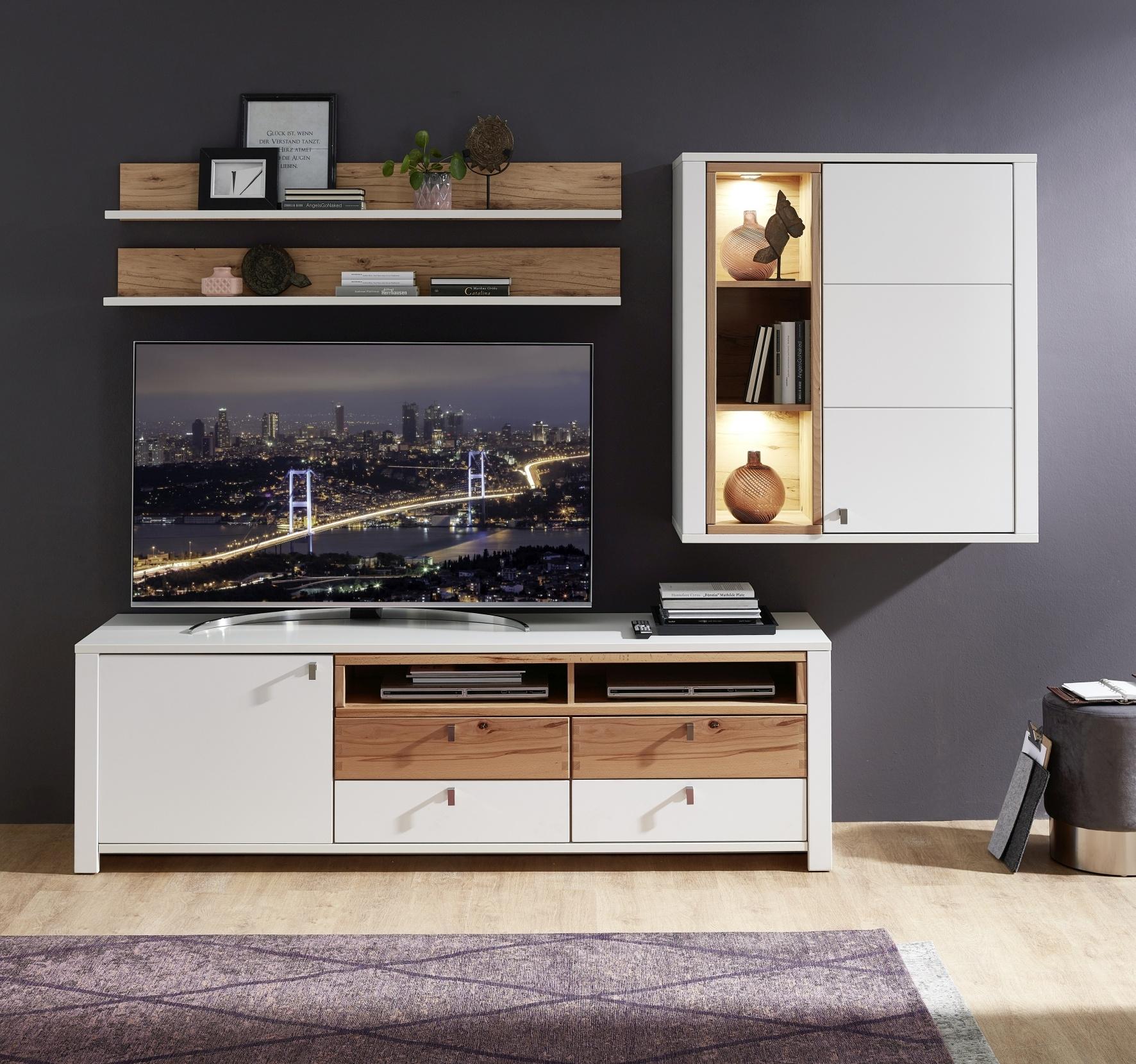 Set de mobila living din pal si MDF, 4 piese Selina Alb / Natur somproduct.ro