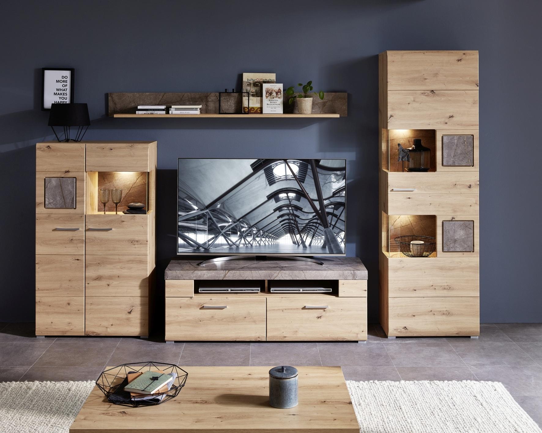 Set de mobila living din pal si MDF, 4 piese Skylar Stejar imagine
