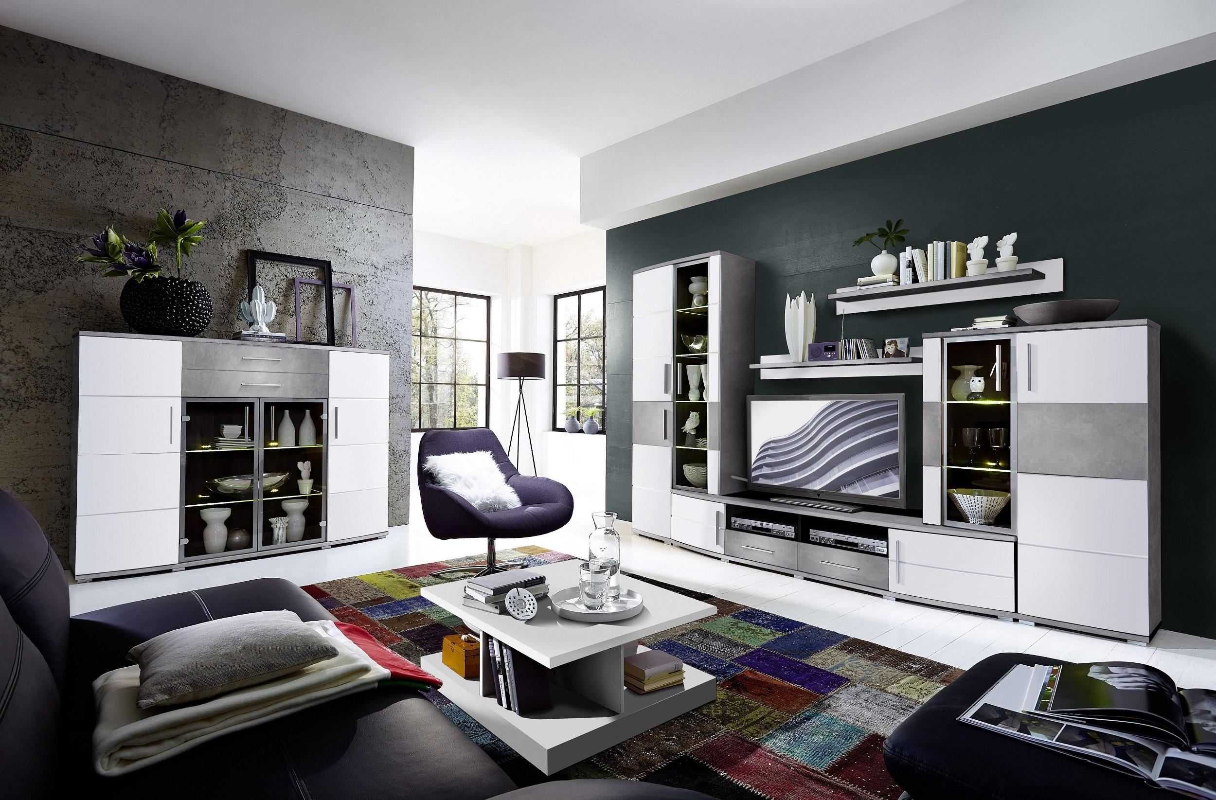 Set de mobila living din pal si MDF, 5 piese Jenise Alb / Gri imagine