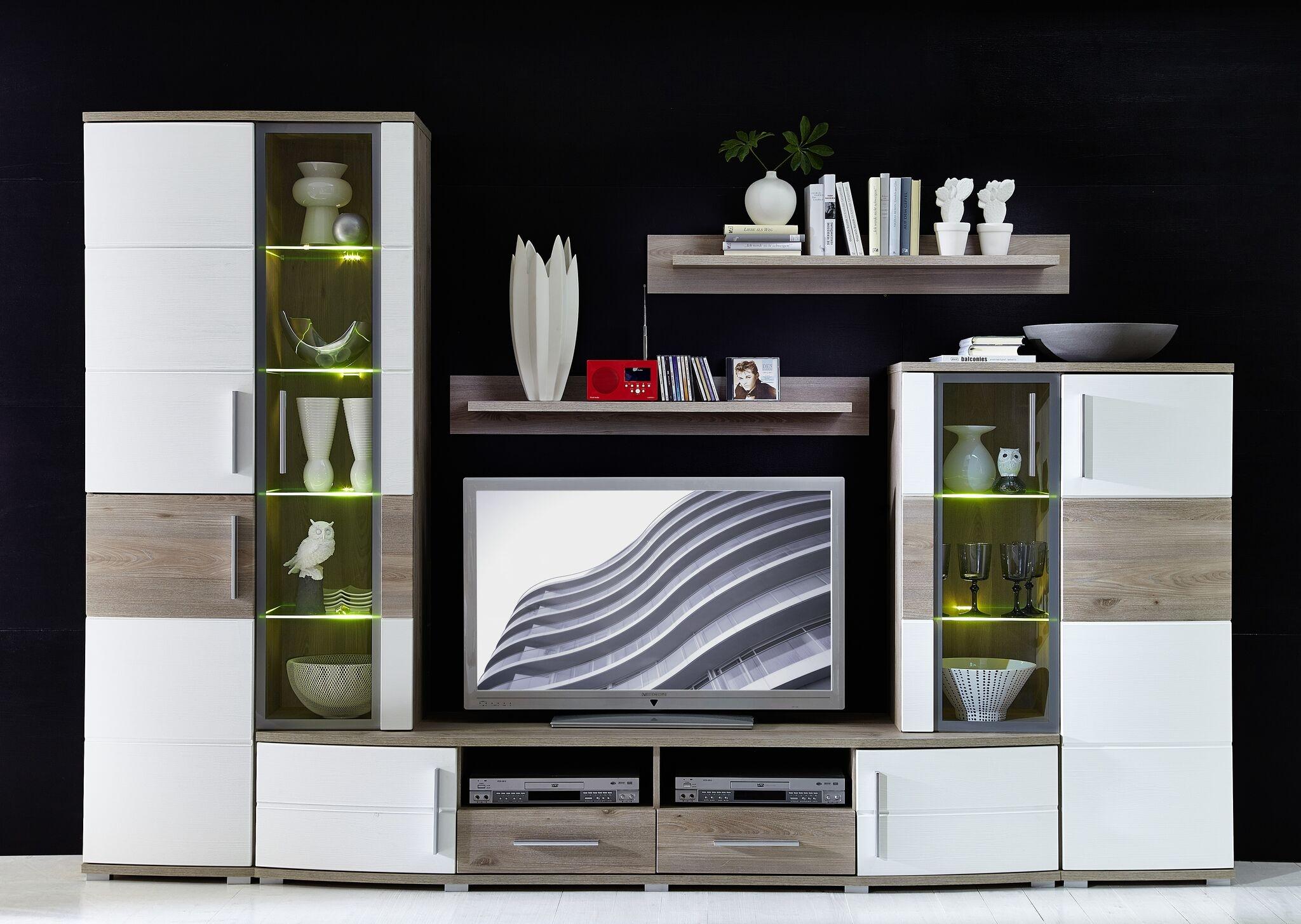Set de mobila living din pal si MDF, 5 piese Jenise Alb / Stejar, l296xA50xH198 cm imagine