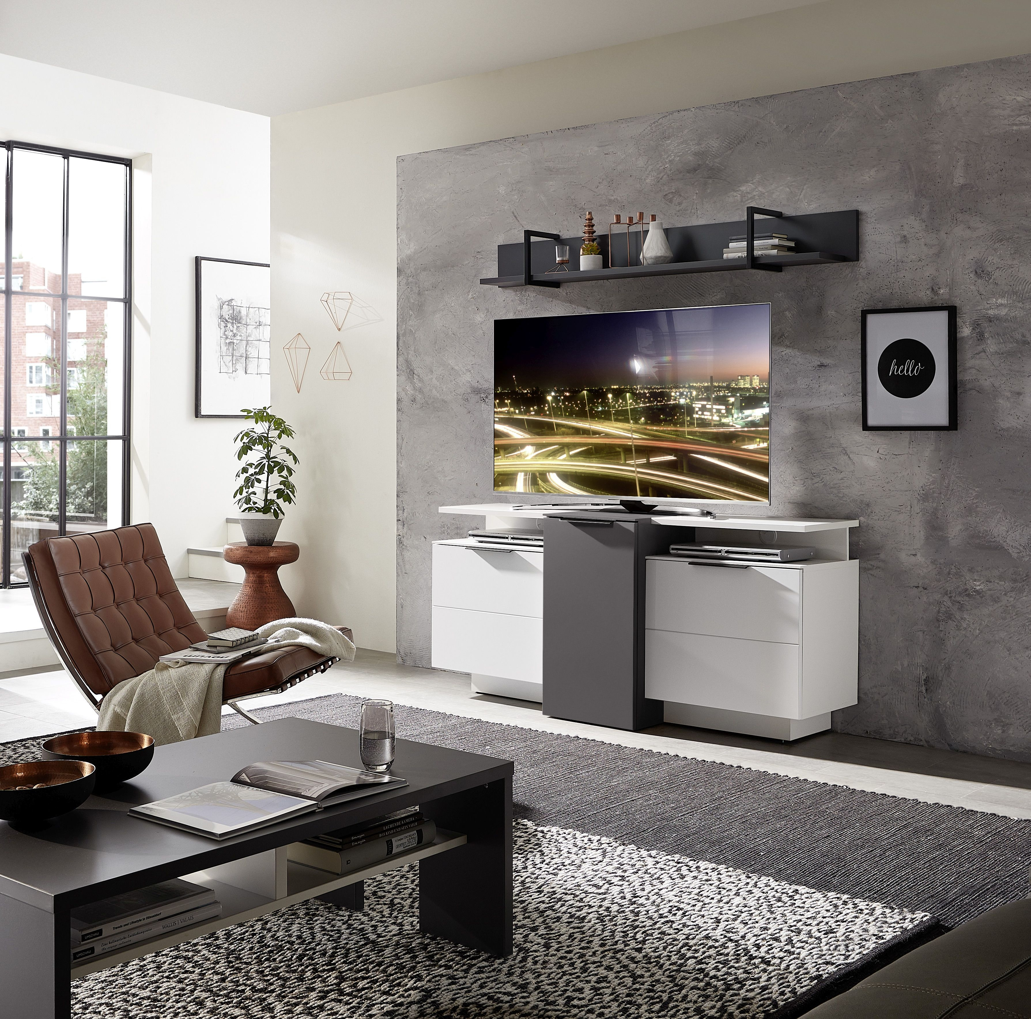 Set de mobila living din pal si MDF, 5 piese Madeline Alb / Grafit imagine