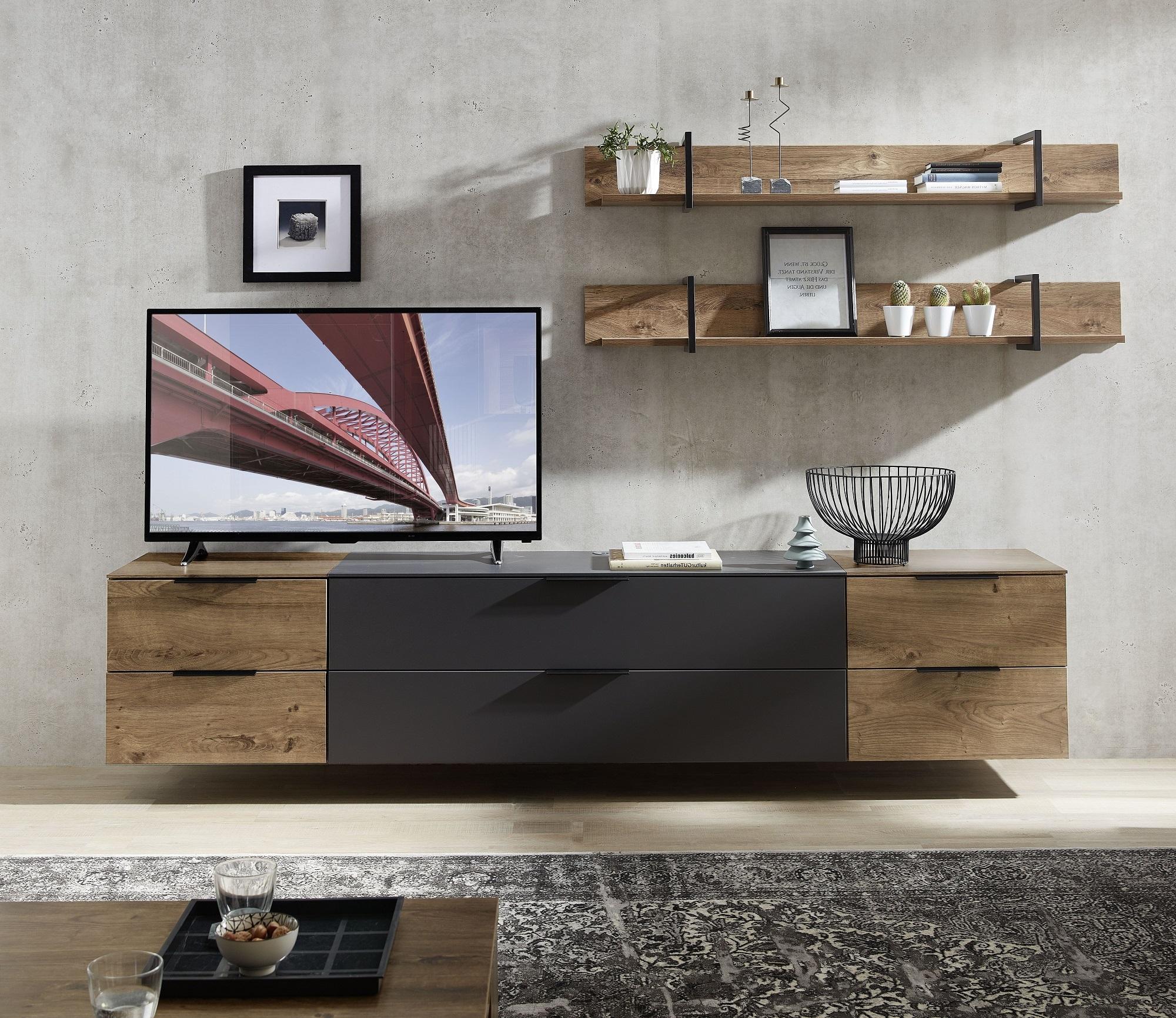 Set de mobila living din pal si MDF, 5 piese Madeline Large Havel Oak Cognac / Grafit imagine