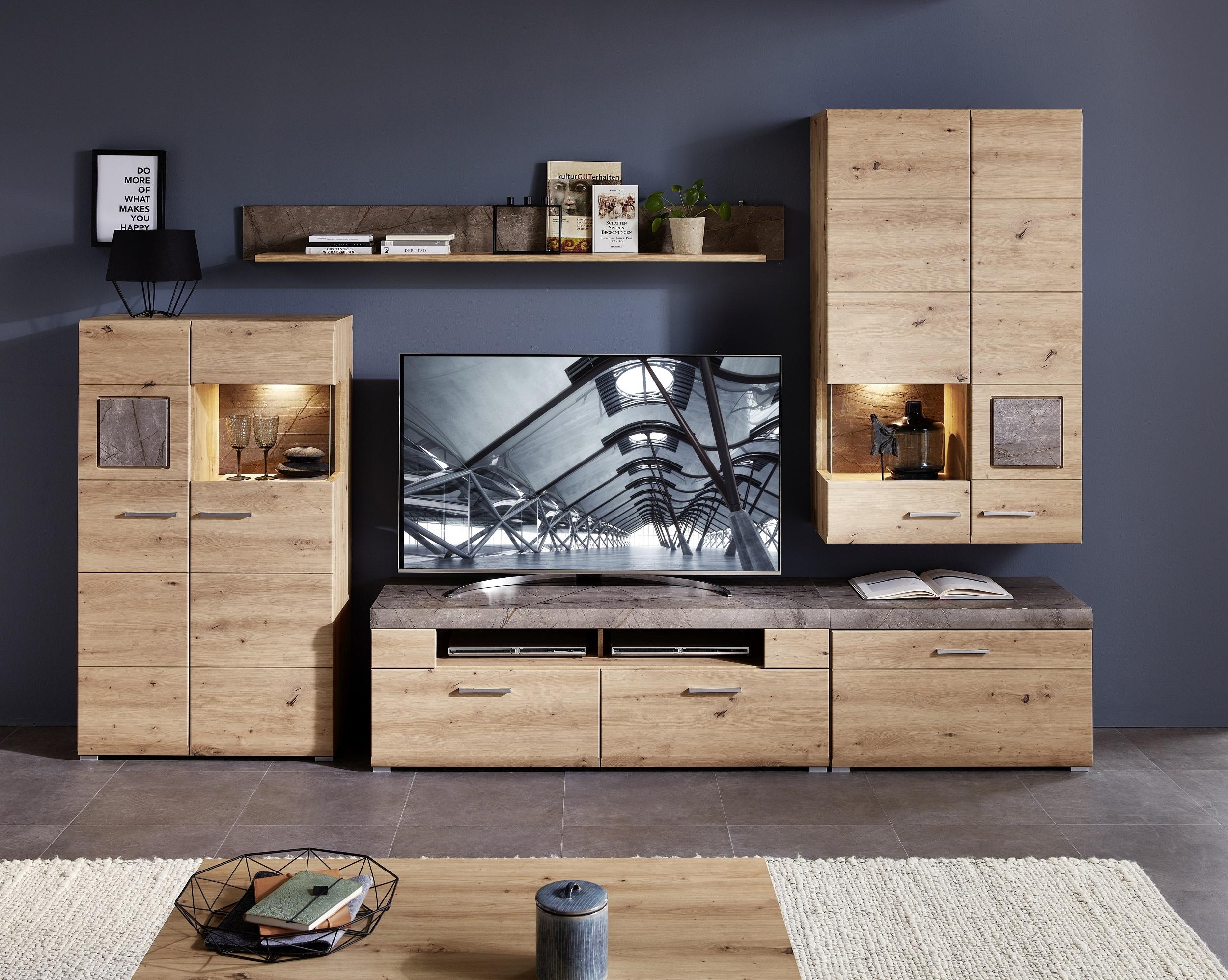 Set de mobila living din pal si MDF, 5 piese Skylar Stejar imagine
