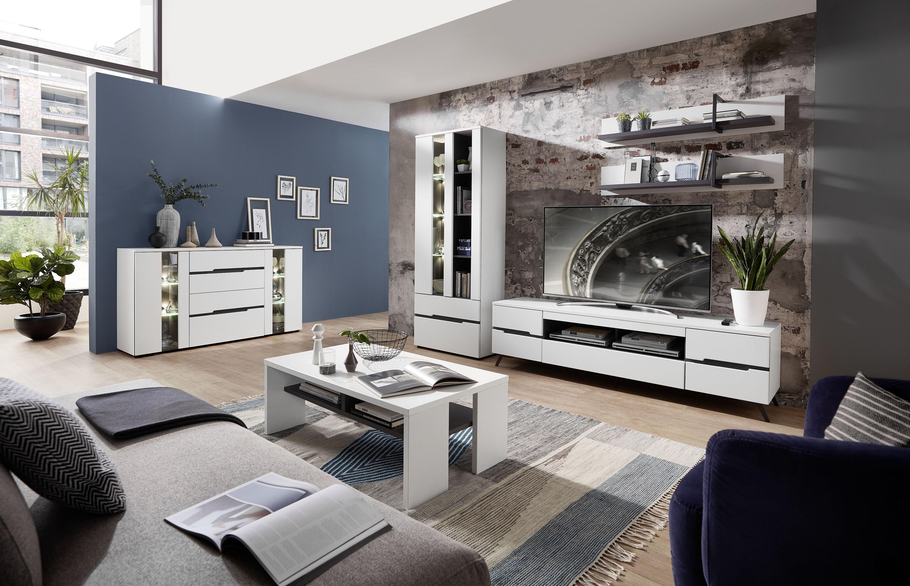 Set de mobila living din pal si MDF, 6 piese Dakota Alb imagine