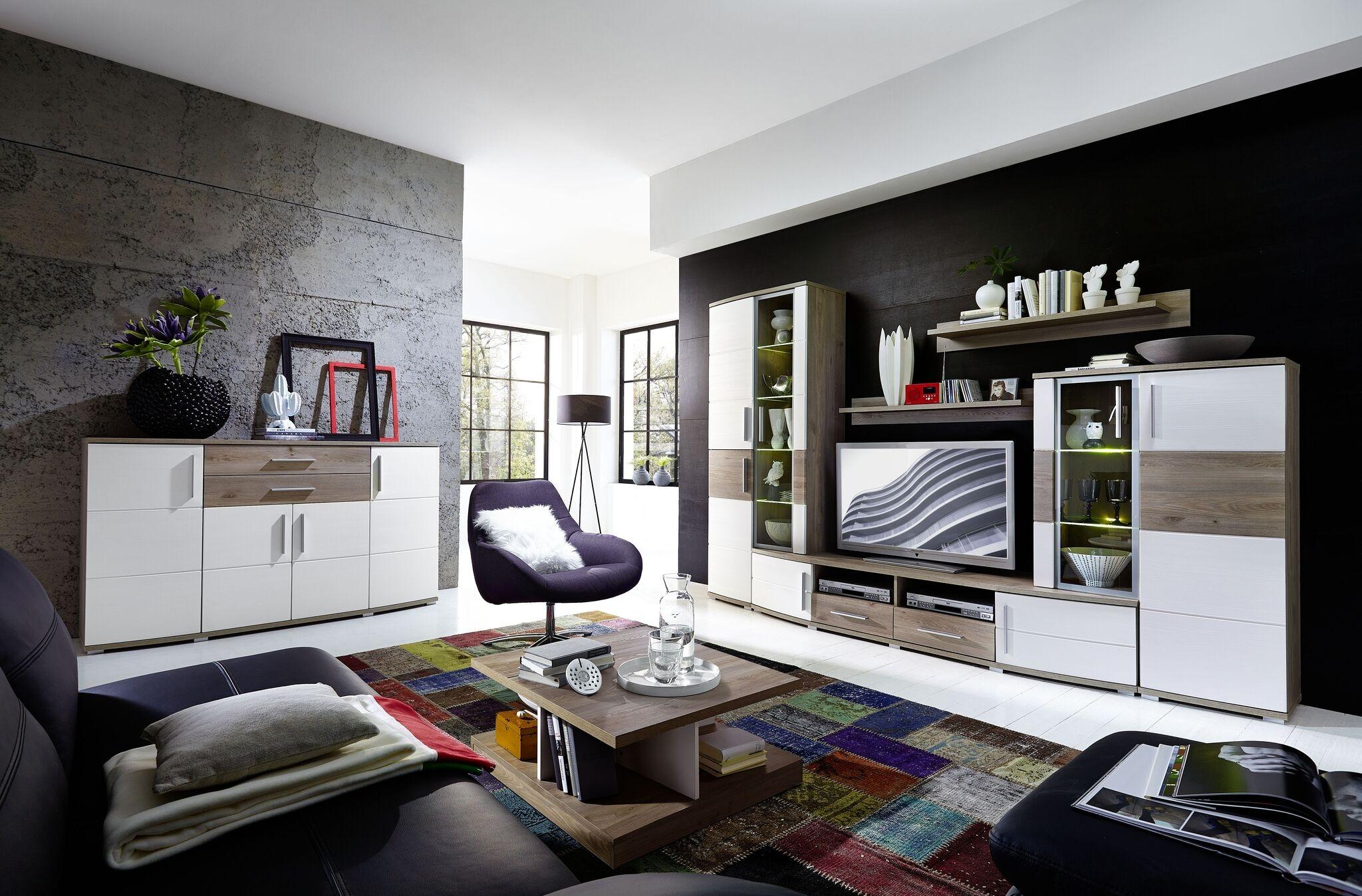 Set de mobila living din pal si MDF, 6 piese Jenise I Alb / Stejar imagine