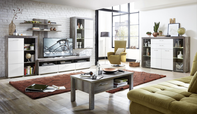 Set de mobila living din pal si MDF, 6 piese Krone I Alb / Natur imagine