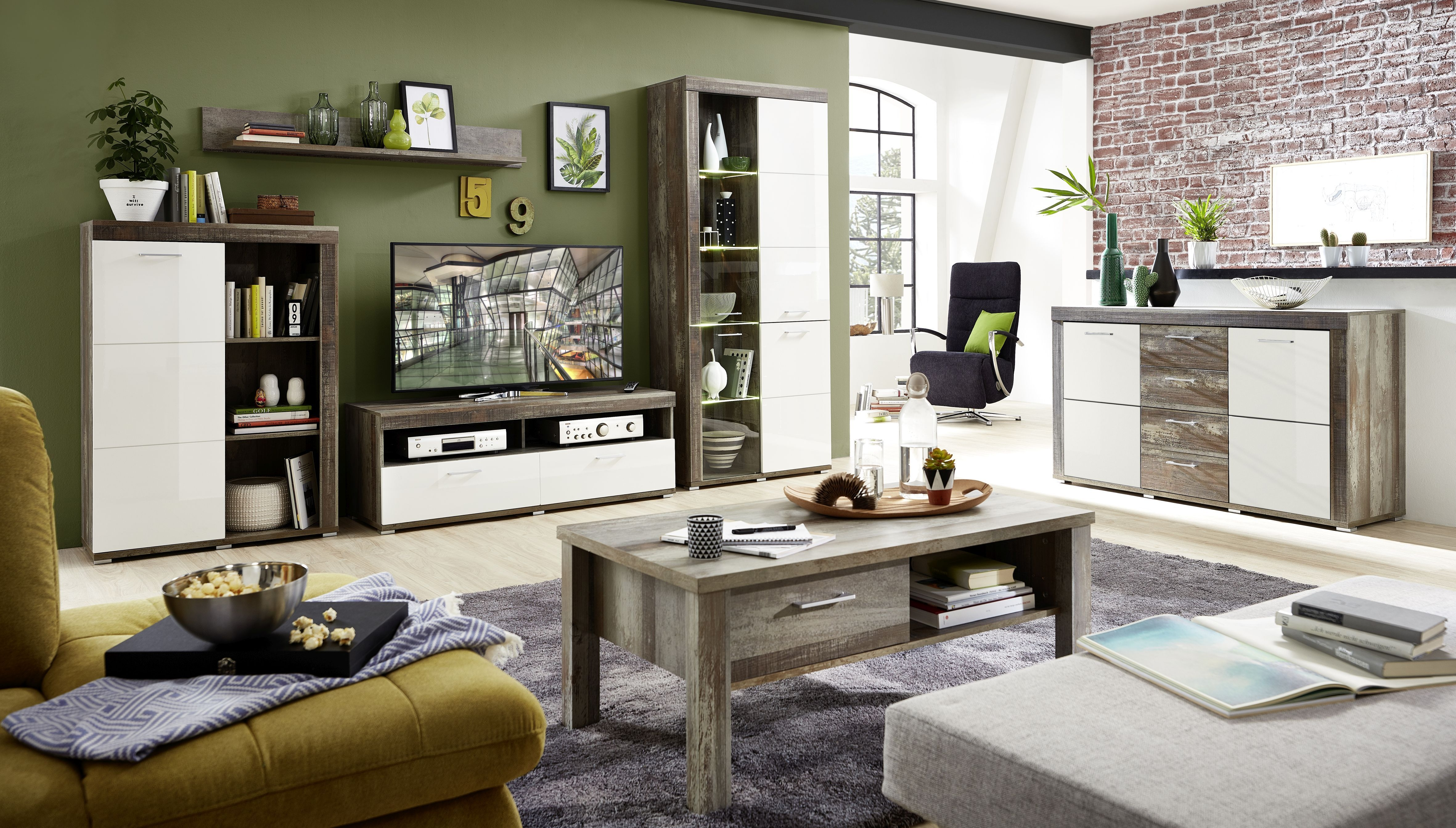 Set de mobila living din pal si MDF, 6 piese Krone II Alb / Natur imagine