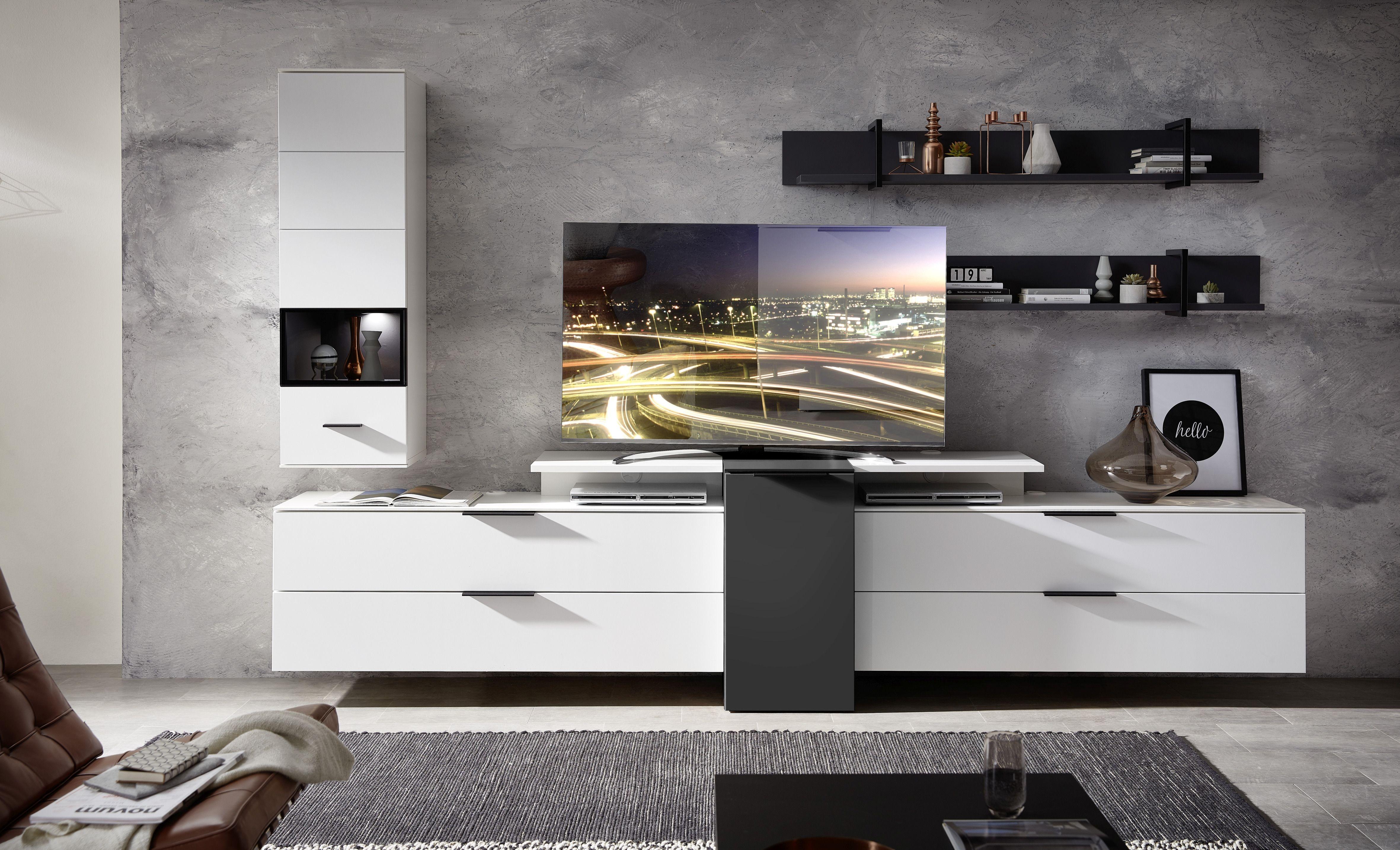 Set de mobila living din pal si MDF, 6 piese Madeline Alb / Grafit imagine